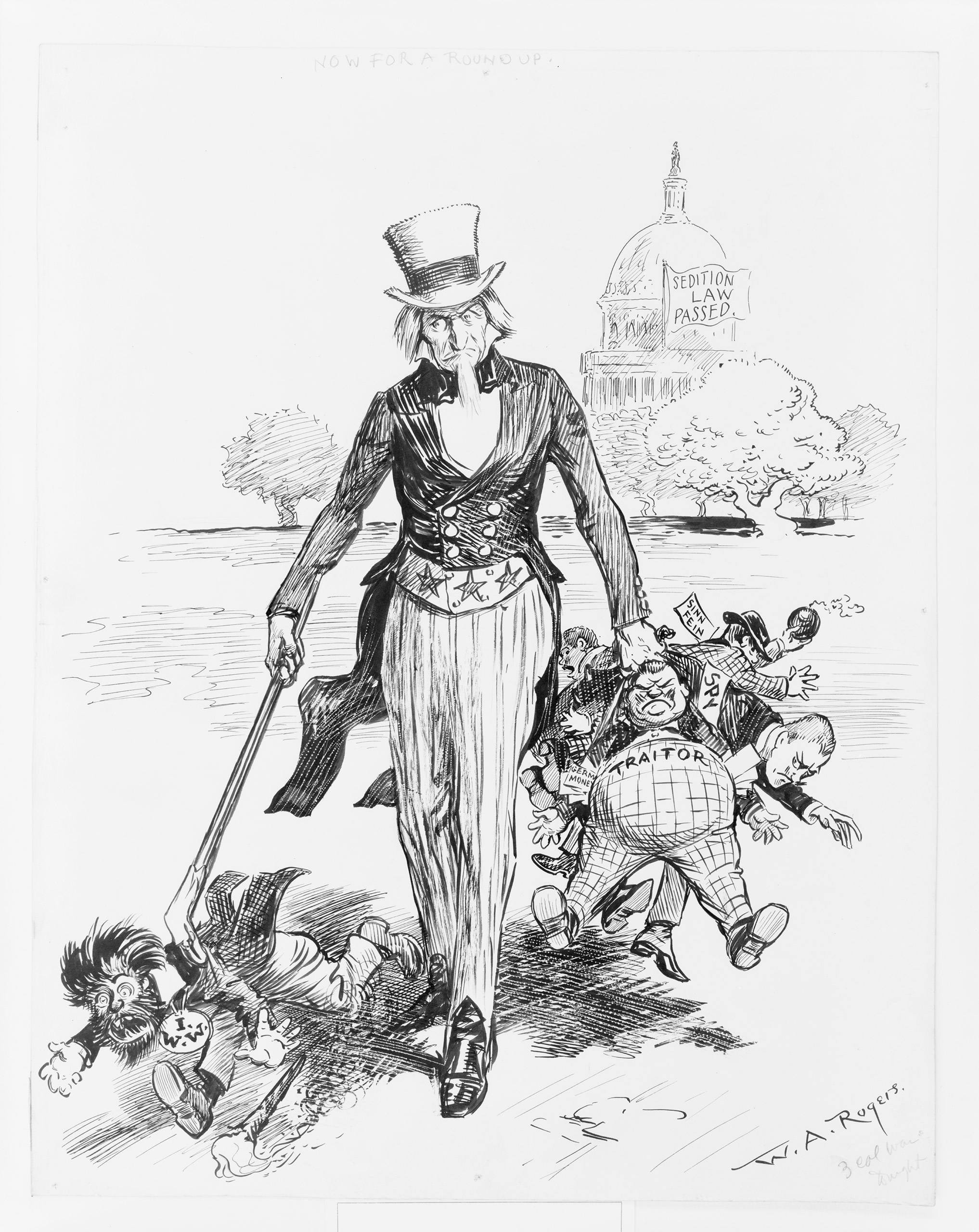 Cartoon by William Allen Rogers published by the New York Herald celebrating Uncle Sam's expanded authority.