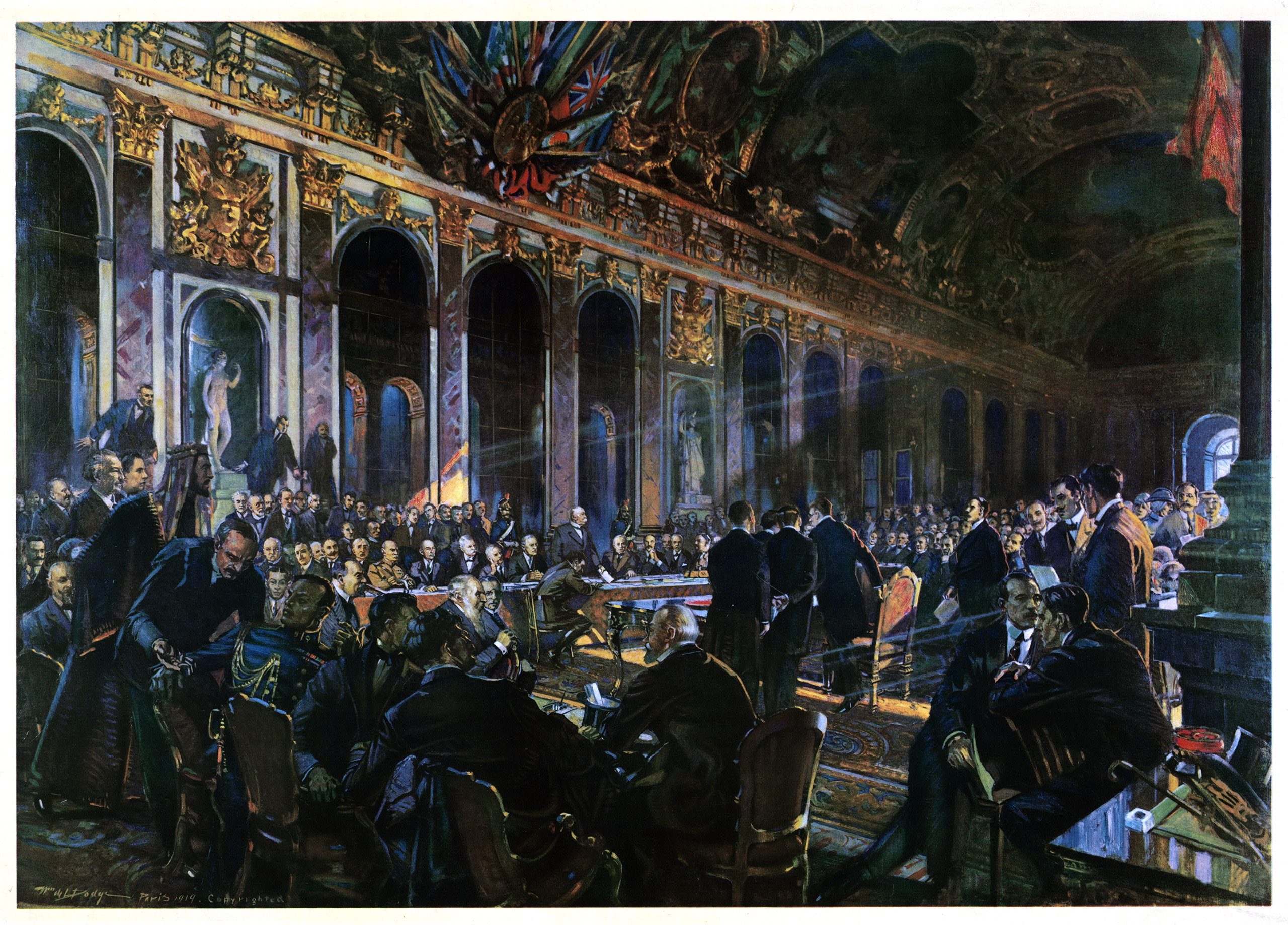 Color print by William de Leftwich Dodge,  Signing of the Peace Treaty at Versailles.