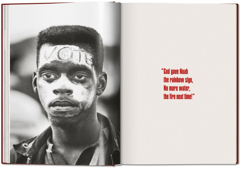 Page from James Baldwin: The Fire Next Time with photograph by Steve Schapiro.