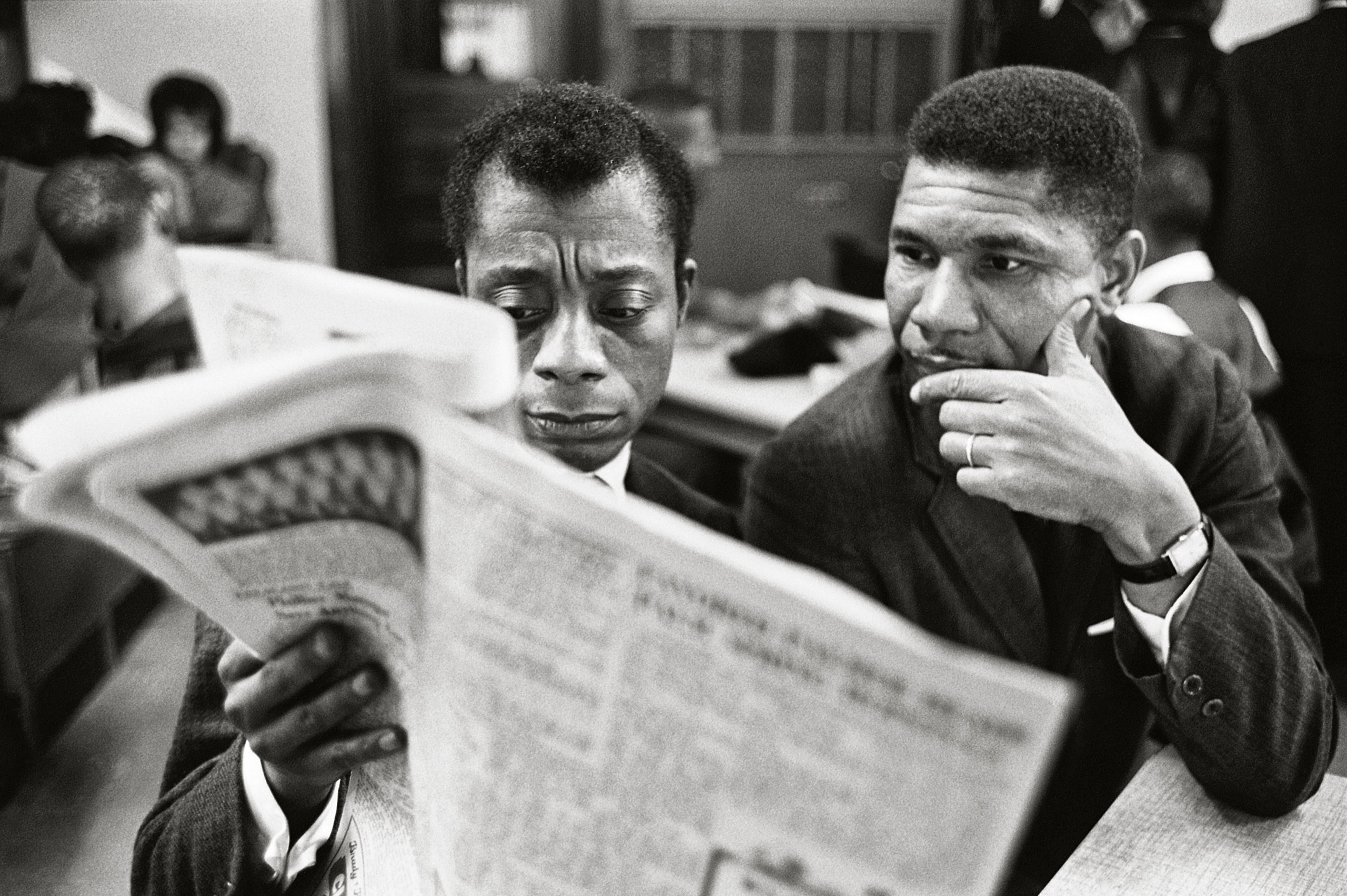 Never Published.                               James Baldwin joined the fight for equality in the South. Mostly, he offered a passionate voice for justice and a plea for                               a nation's salvation. In Mississippi in 1963, he visited the NAACP's Medgar Evers, who was slain later that June,                               following President Kennedy's landmark                               televised address on civil rights. This photo was recently discovered in the                               photographer's contact sheets.