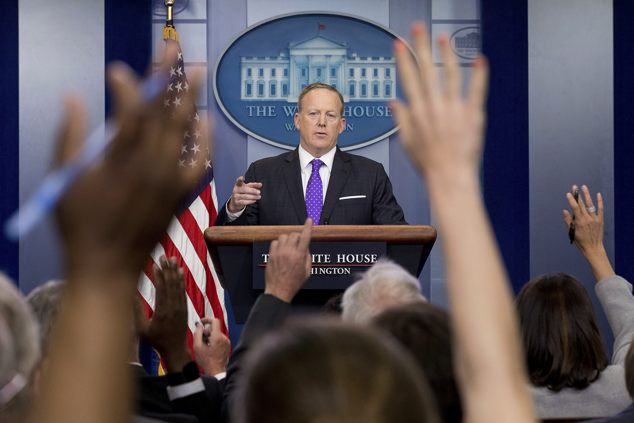 White House press secretary Sean Spicer calls on a member of the media during the daily press briefing at the White House in Washington