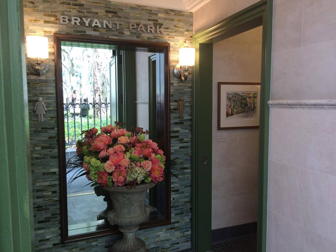 The entrance to Bryant Park's newly-renovated public restrooms.