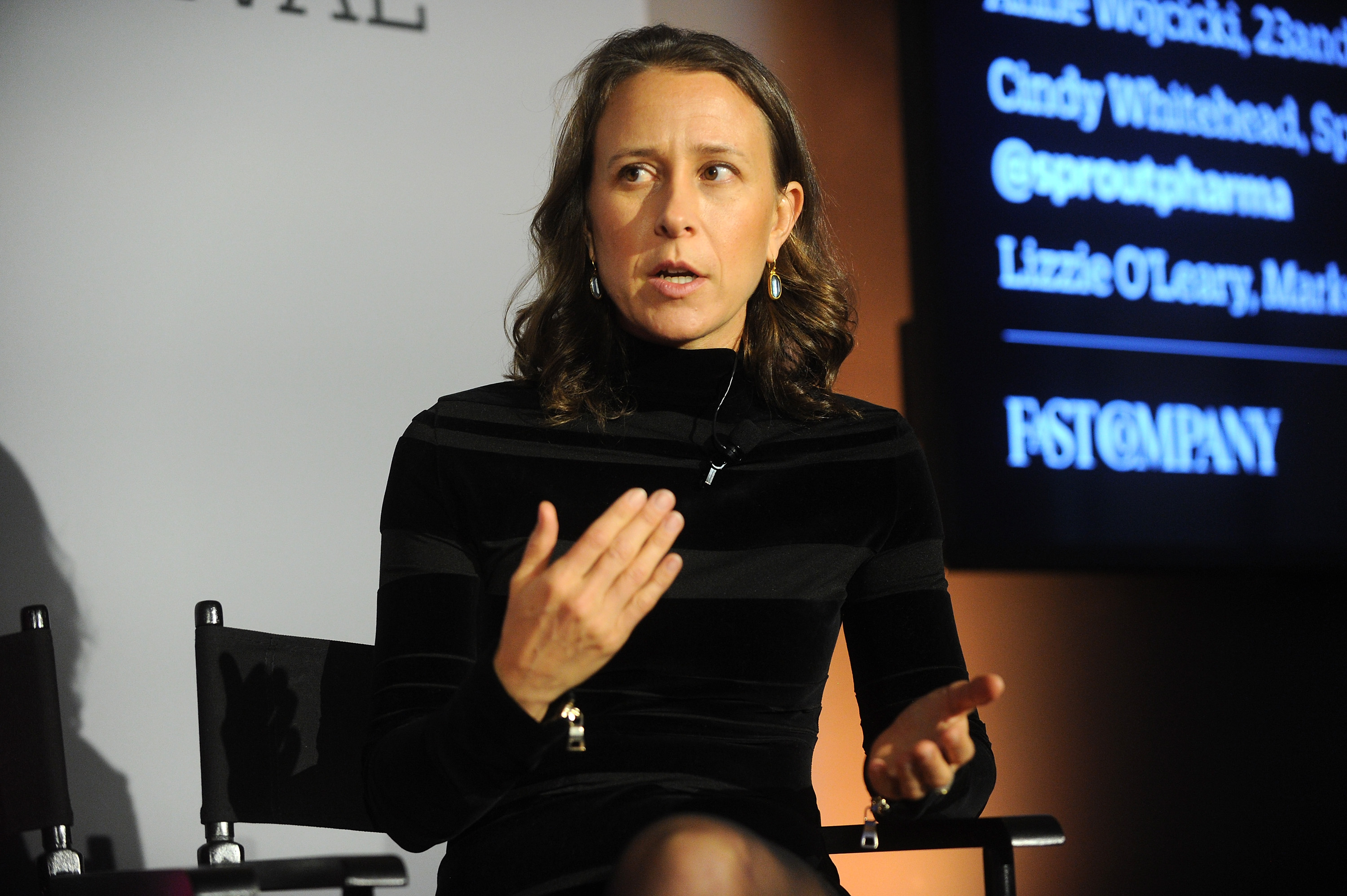23andMe CEO Anne Wojcicki speaks on stage during 'The Fast Company Innovation Festival' - Data + Drugs: The New Evolution Of Drug Making With 23andMe And Sprout on Nov. 10, 2015 in New York City.