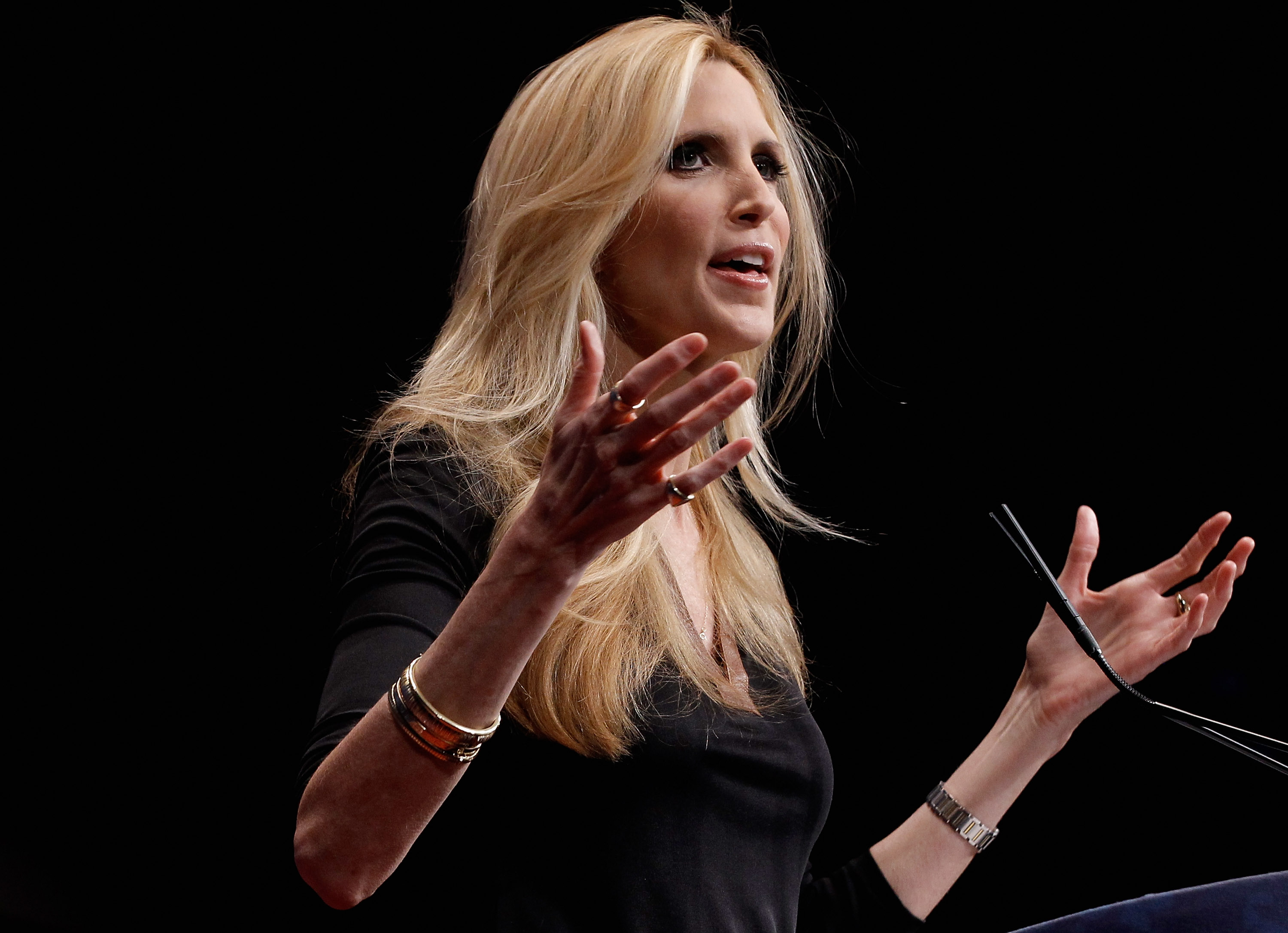 Ann Coulter delivers remarks to the Conservative Political Action Conference (CPAC) at the Marriott Wardman Park February 10, 2012 in Washington, DC.