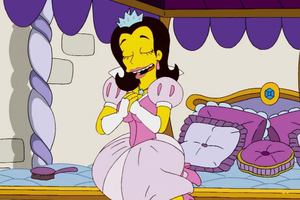 """<b>Anne Hathaway:</b> The actress appeared twice as Bart's love interest Jenny in """"The Good, the Sad and the Drugly"""" (2009) and """"Moonshine River"""" (2012). She also voiced Princess Penelope, who marries Krusty the Clown, in """"Once Upon a Time in Springfield"""" in 2010. Hathaway won an Emmy for her role as Penelope and was declared by Matt Groening as his favorite guest star."""