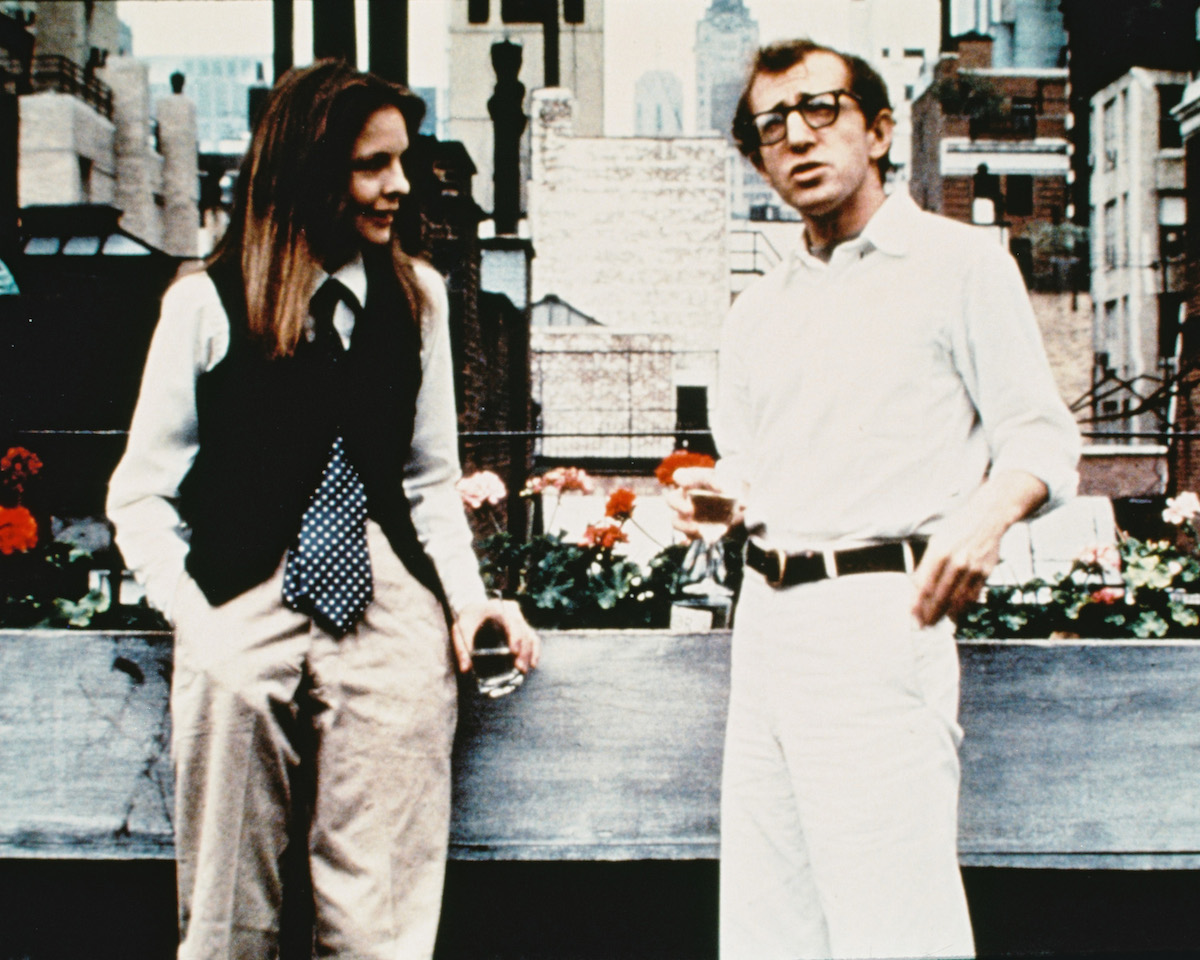 Woody Allen as Alvy Singer and Diane Keaton as Annie Hall in the film 'Annie Hall,' 1977.