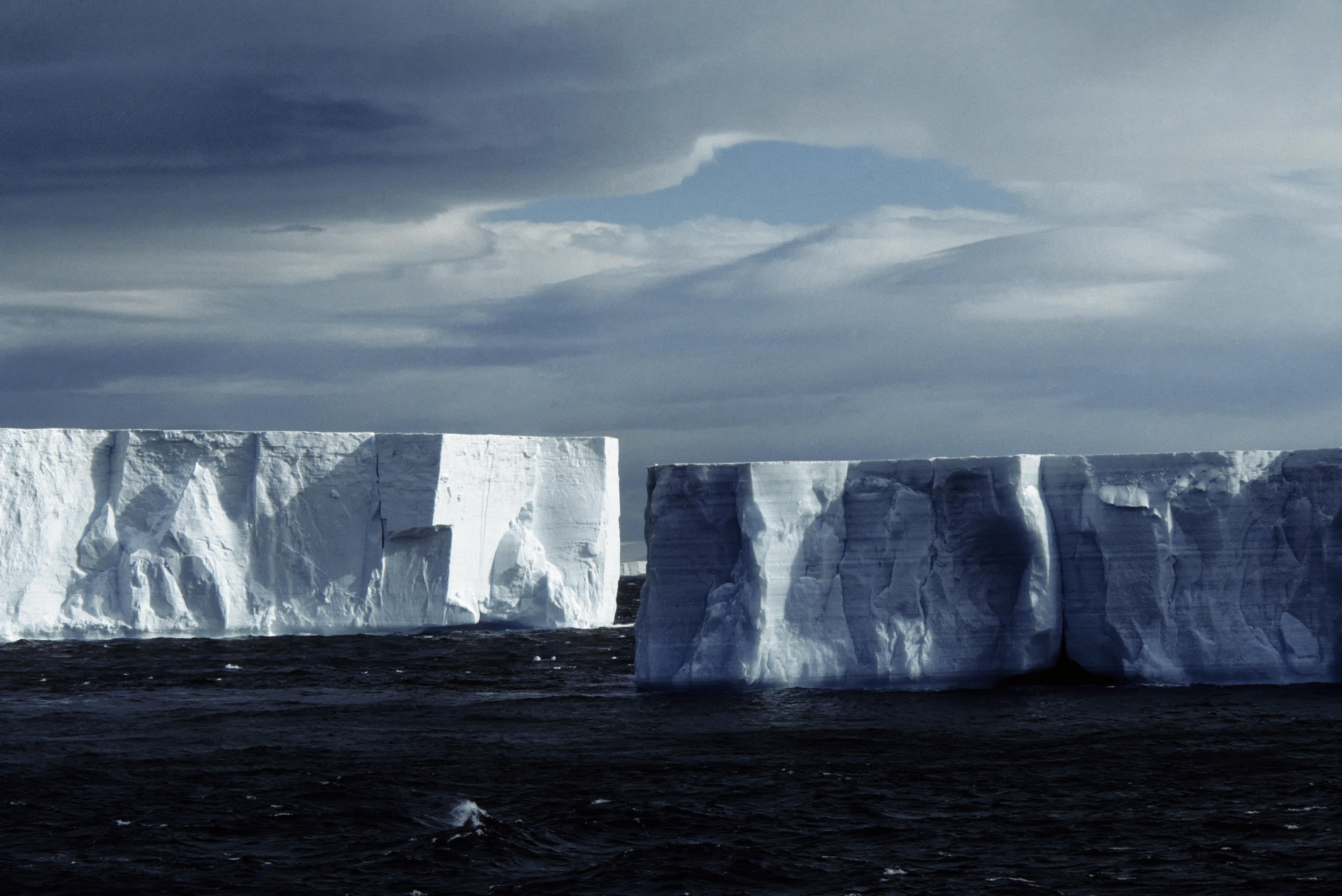 Antarctica, Tabular Icebergs.