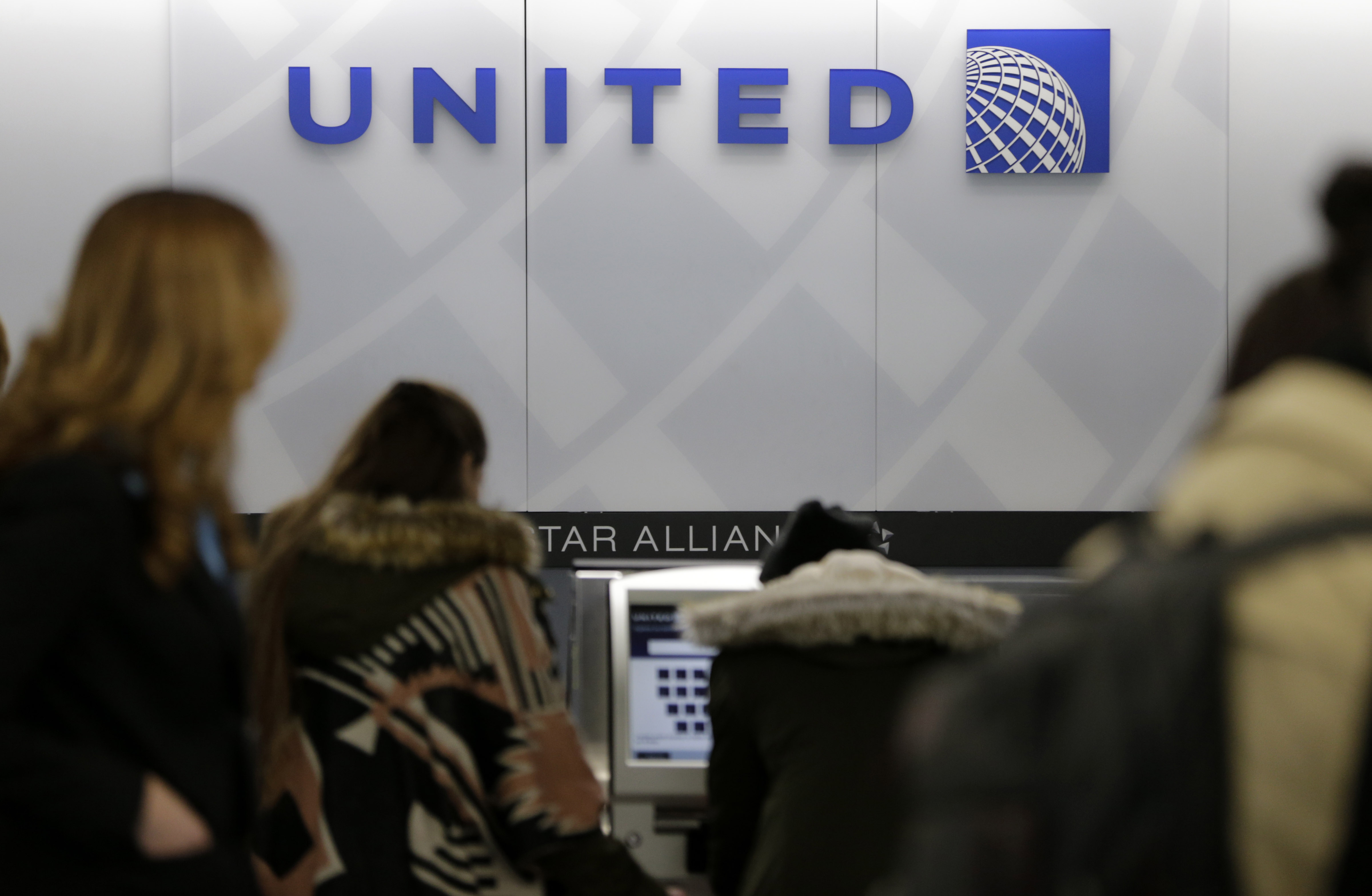 A United Airlines counter is seen at LaGuardia Airport in New York on March 15, 2017.