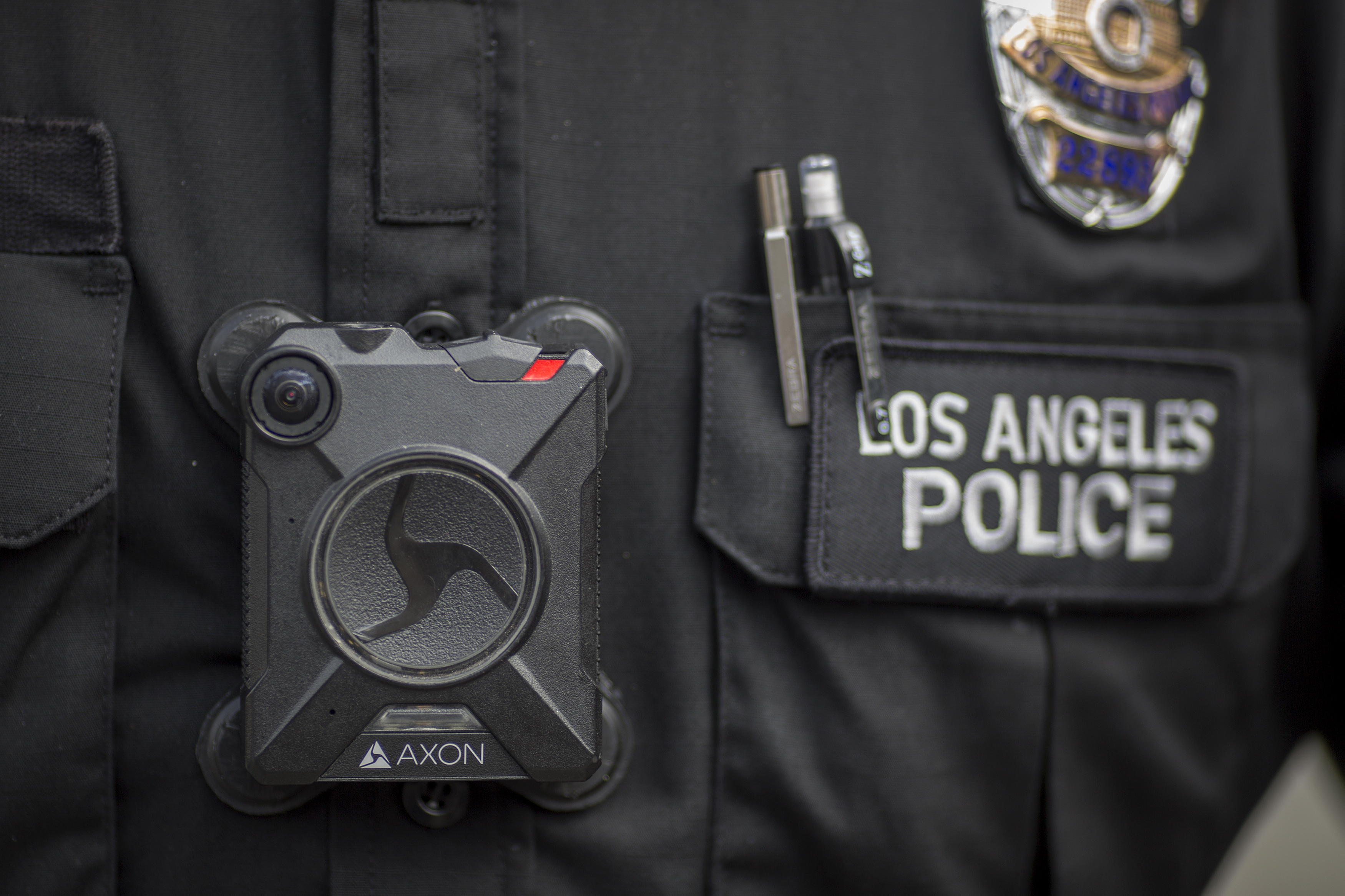 A Los Angeles police officer wear an AXON body camera on February 18, 2017.