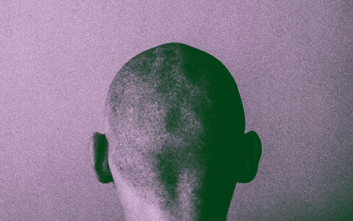 Grained skinhead angry man