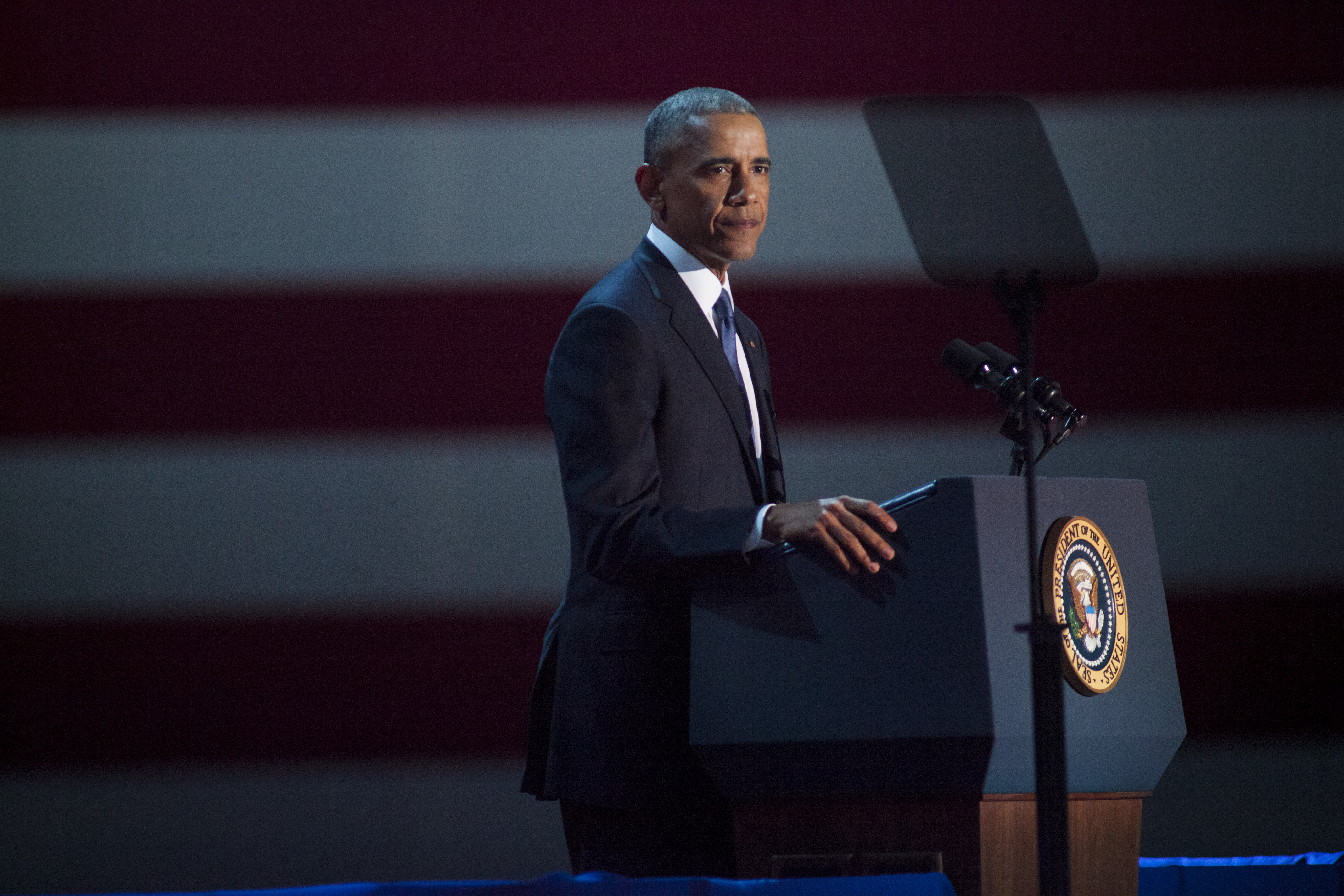 U.S. President Barack Obama speaks to supporters during his farewell speech at McCormick Place on January 10, 2017 in Chicago, Ill.