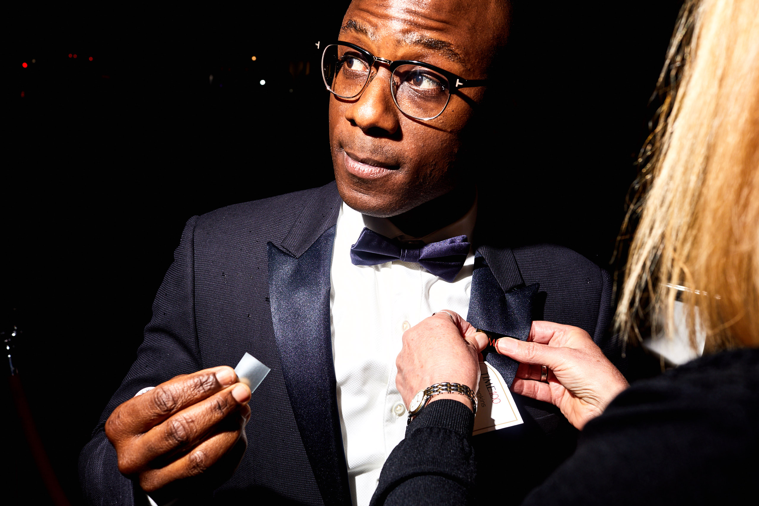 Barry Jenkins preparing for the red carpet at the Time 100 Gala at Jazz at Lincoln Center on April 25, 2017 in New York City.