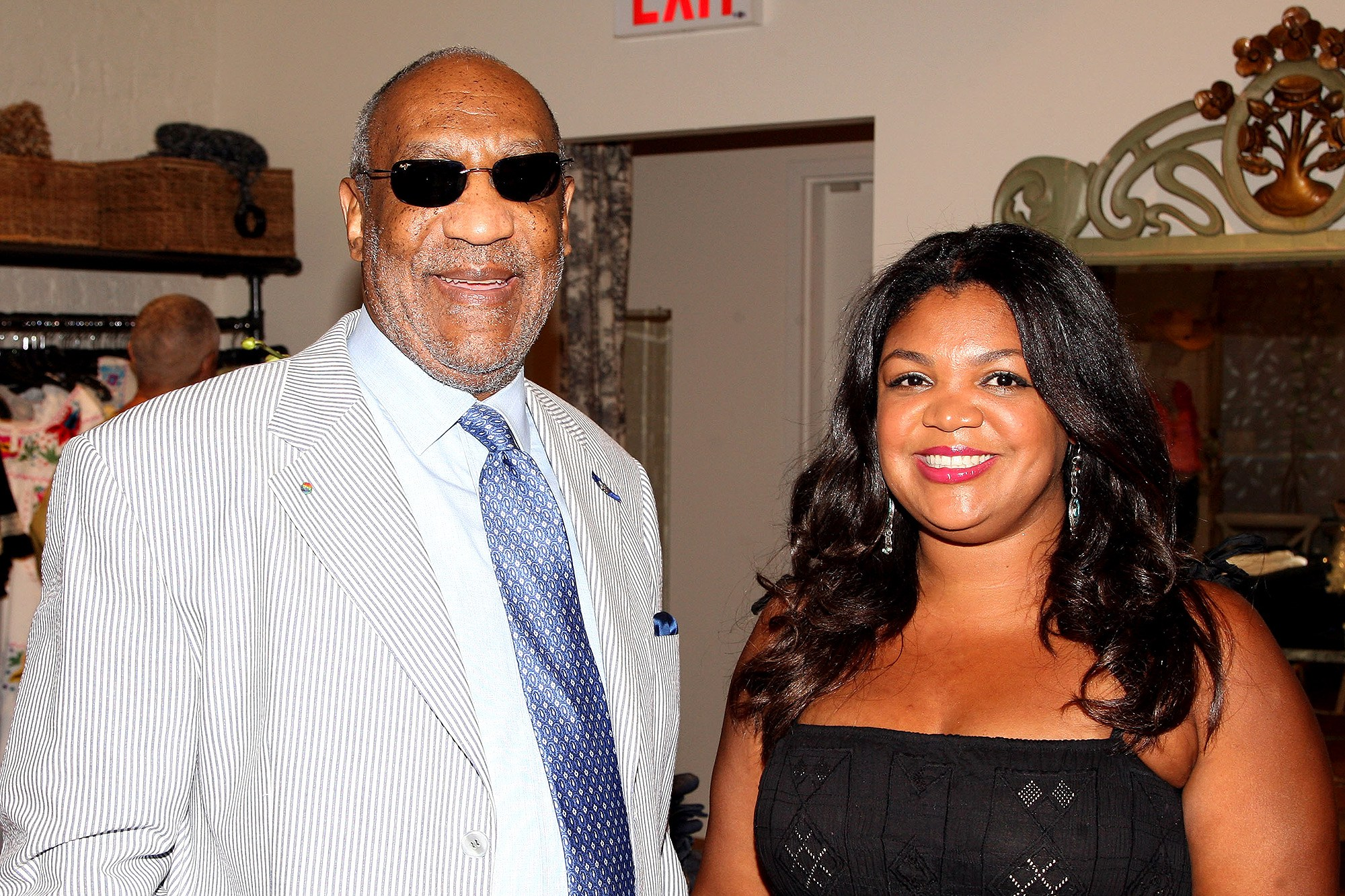 Evin Cosby and her father actor Bill Cosby attend the launch of her store pb&Caviar on Aug. 7, 2008 in New York City.