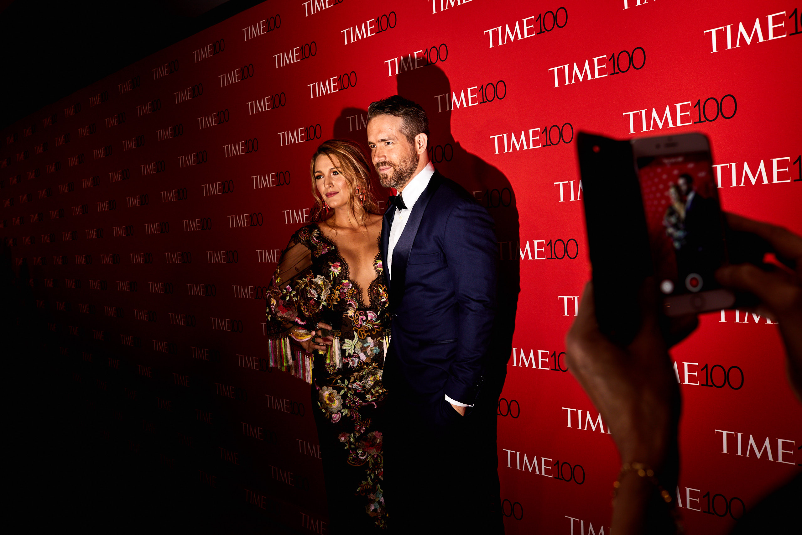 Blake Lively and Ryan Reynolds being photographed by Ryan Reynold's mother at the Time 100 Gala at Jazz at Lincoln Center on April 25, 2017 in New York City.