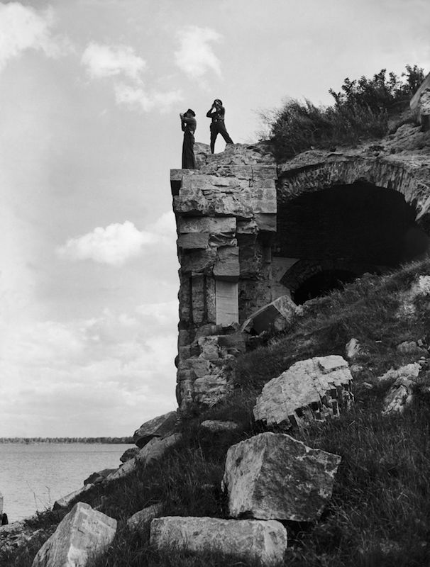 Two American policemen monitoring the border between Canada and the U.S. at Lake Champlain In Vermont, on May 20, 1945.