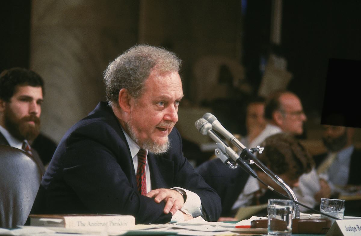 Judge Robert Bork testifies on the fourth day of his Supreme Court confirmation hearing in Washington, D.C., on Sept. 18, 1987.