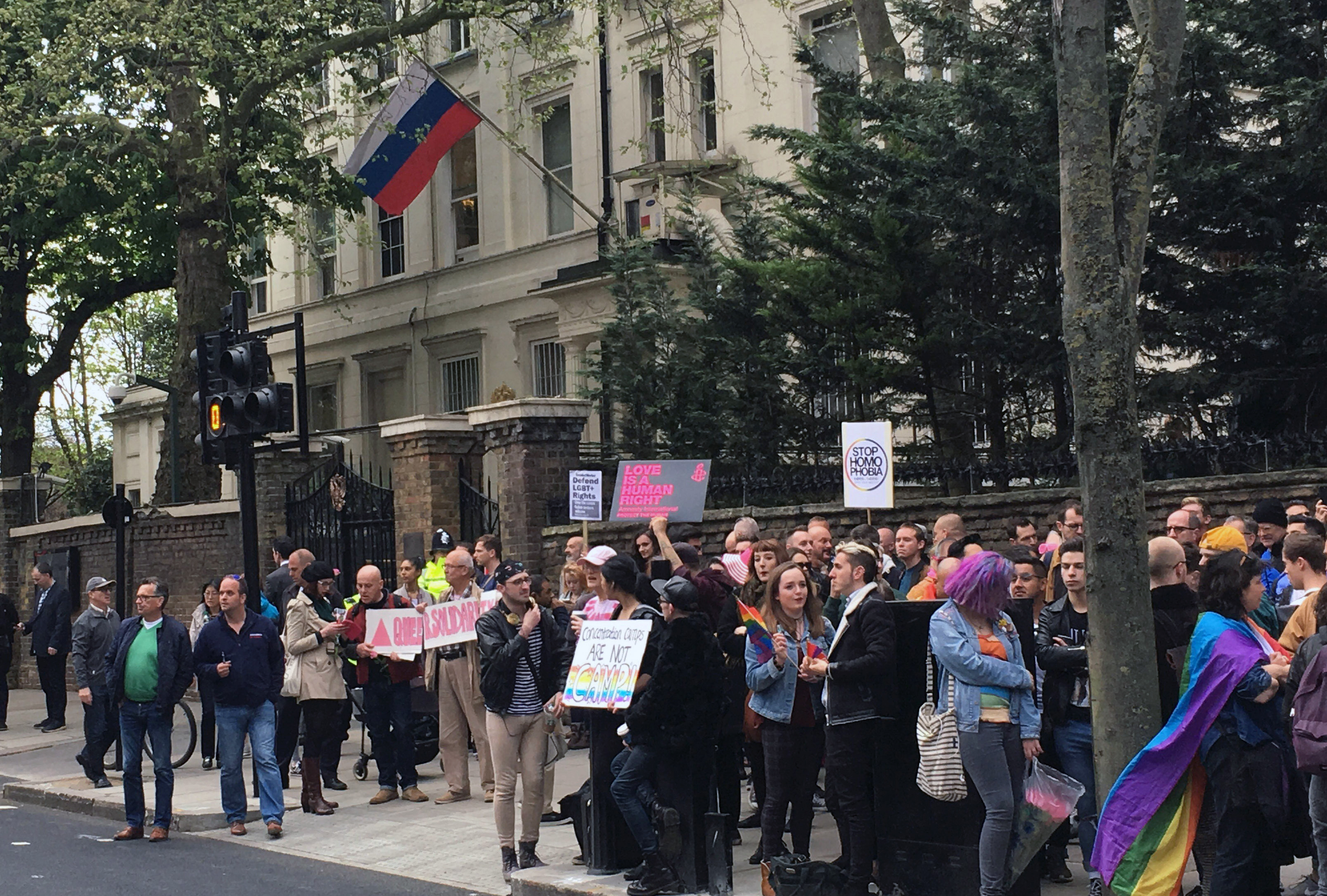 People protest outside the Russian Embassy in London, following reports of the torture and murder of gay men in Chechnya,  April 12, 2017.
