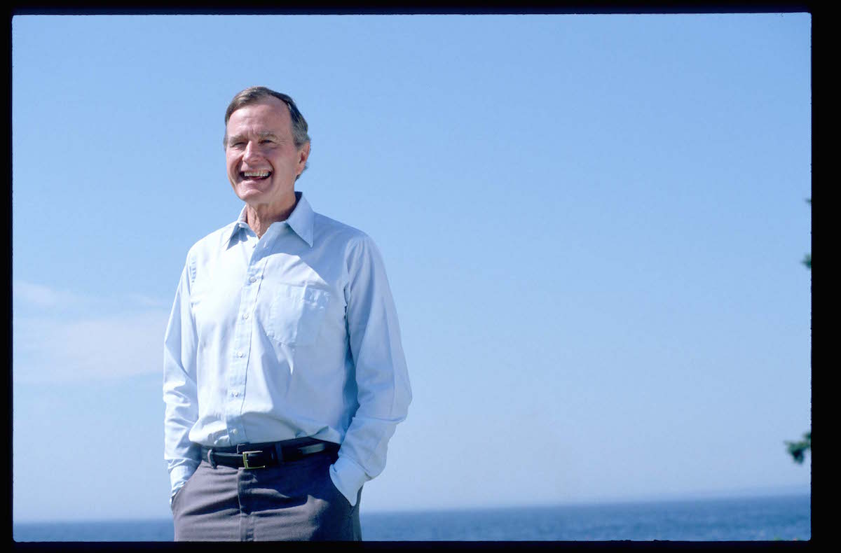 George Bush on a walk on Aug. 6, 1988 while on the campaign trail.