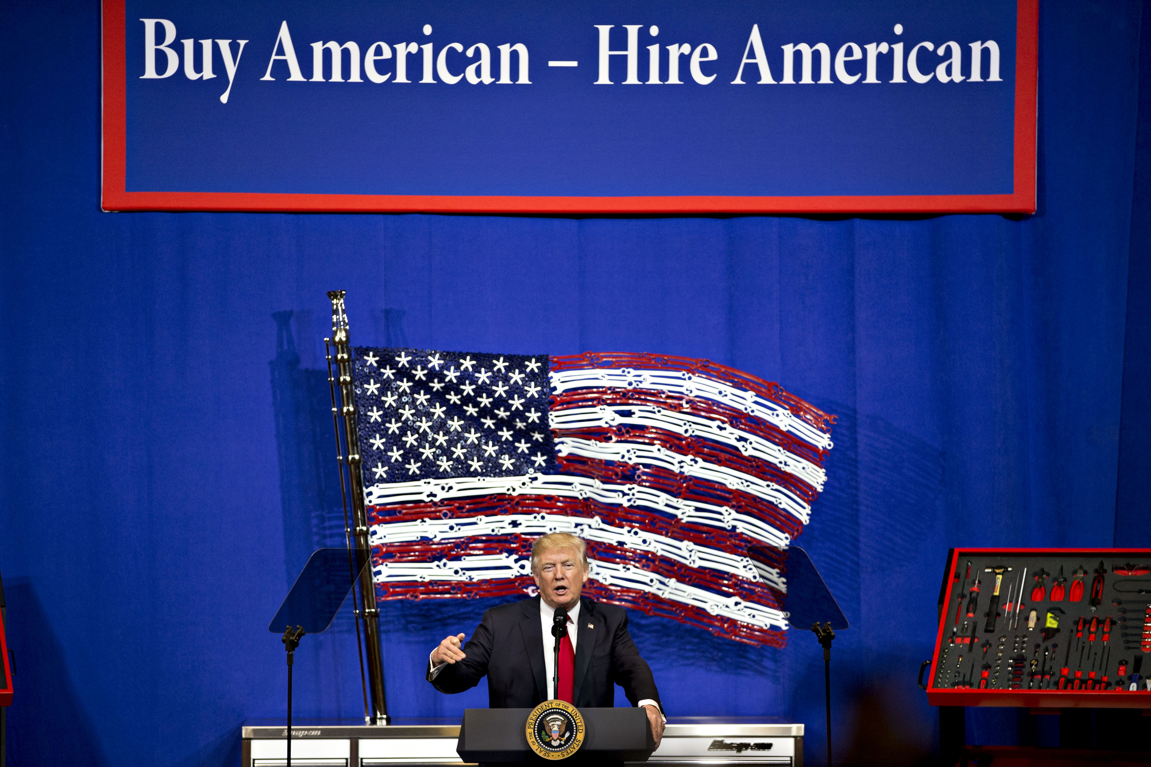 President Donald Trump speaks during an event at Snap-On Tools Corp. headquarters in Kenosha, Wisconsin on April 18, 2017.