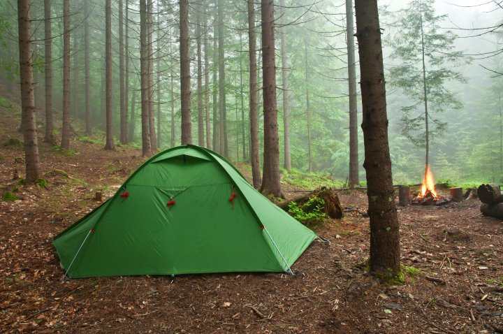 A green tent in the forest with a campfire burning