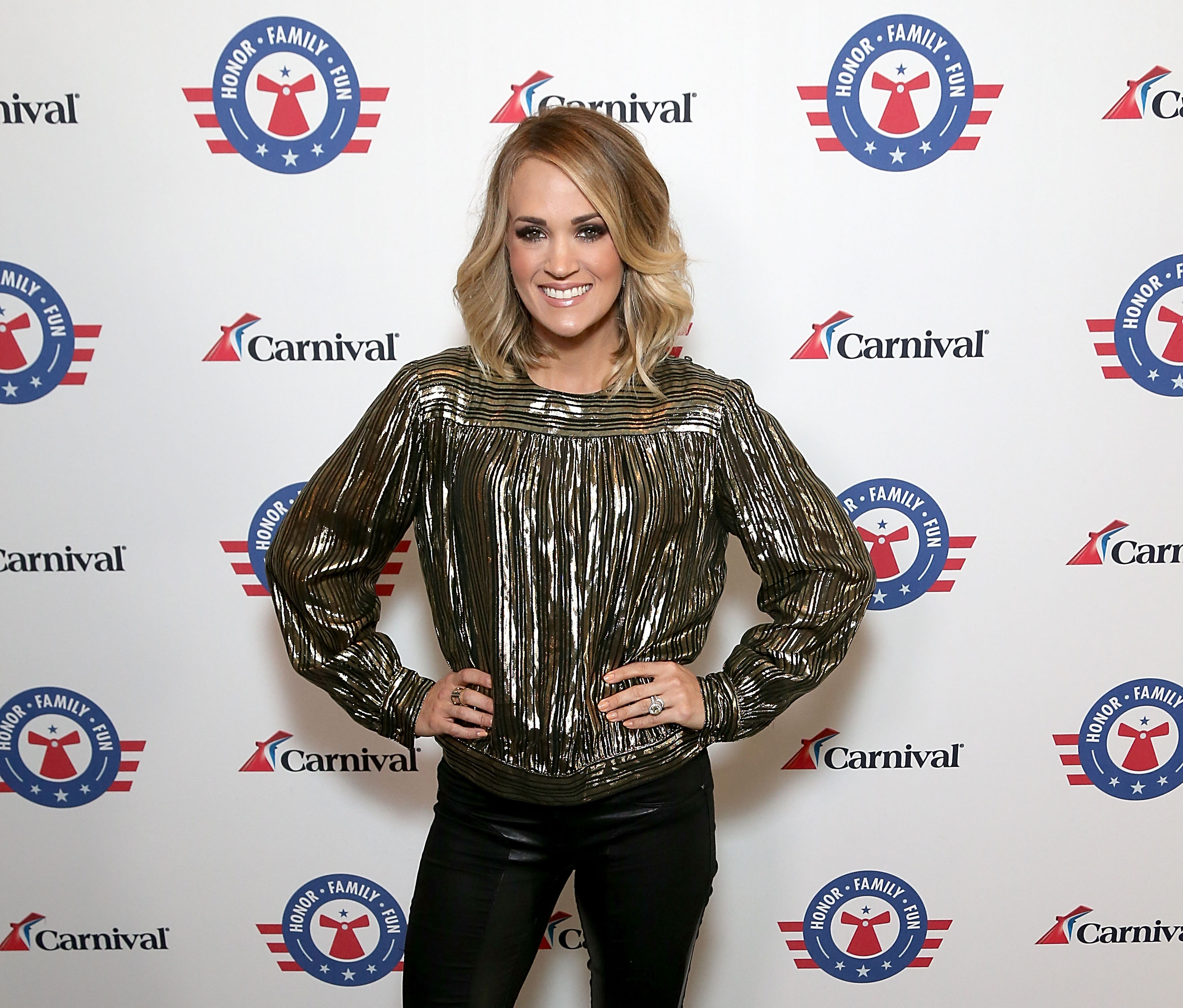 Carrie Underwood at a Carnival Cruise event on April 4, 2017 in Catalina Island, California.  (Photo by Gary Miller/Getty Images)