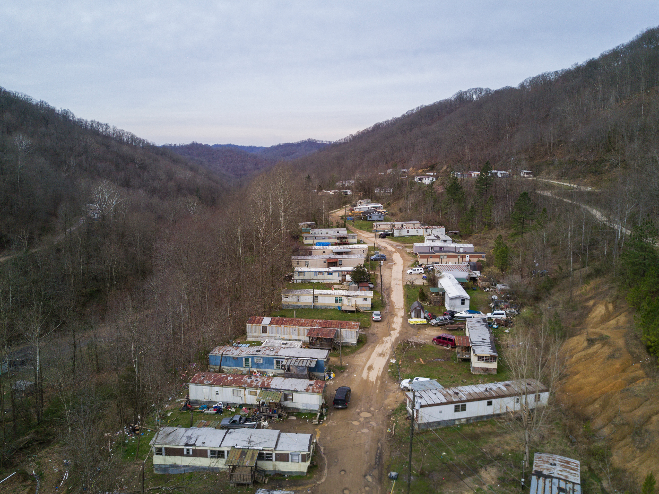 Trailers appear between Madison and Danville, W.Va., on Mar. 20, 2017.