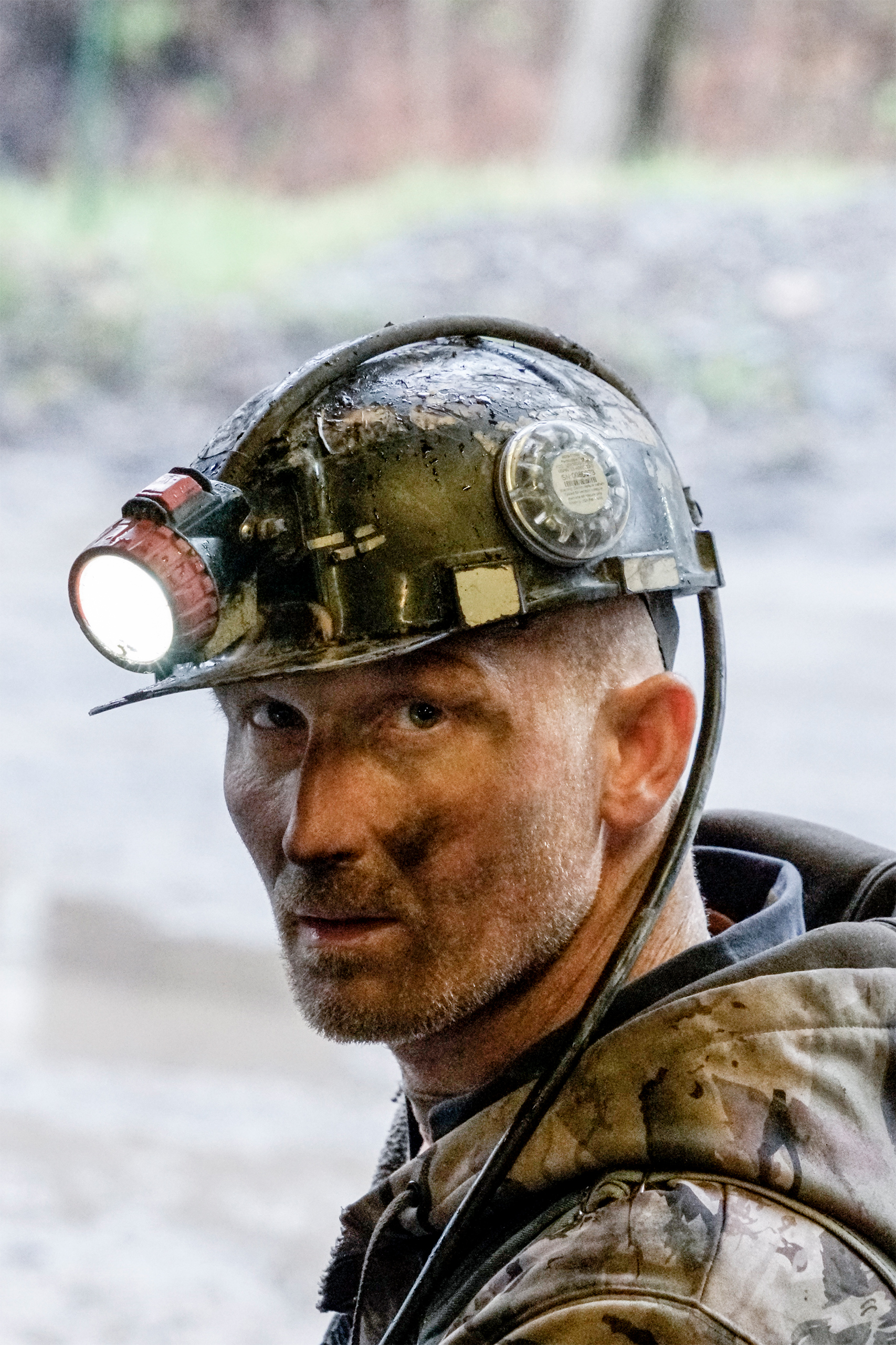 A coal miner appears at a Southern Coal Corporation underground coal mine in Monroe County, W.Va., on Mar. 17, 2017.