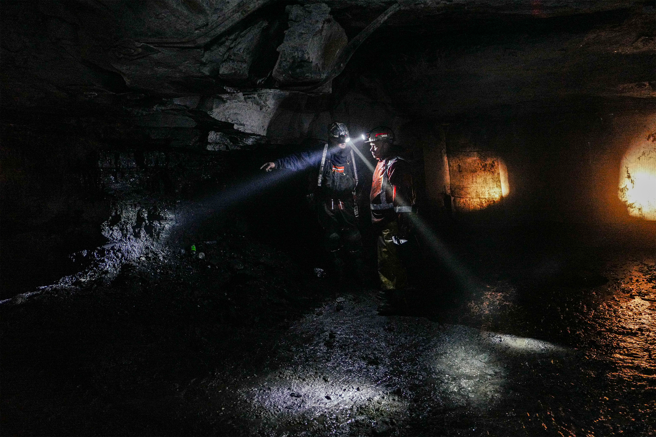 Coal miners appears in Southern Coal Corporation coal mine Pay Car Inc. No. 58 in Monroe County, W.Va., on Mar. 17, 2017.
