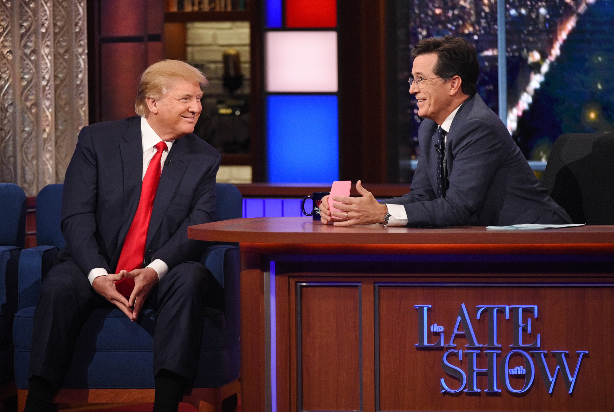 NEW YORK - SEPTEMBER 22: Donald Trump talks about his US Presidential campaign  on The Late Show with Stephen Colbert, Tuesday Sept. 22, 2015 on the CBS Television Network.