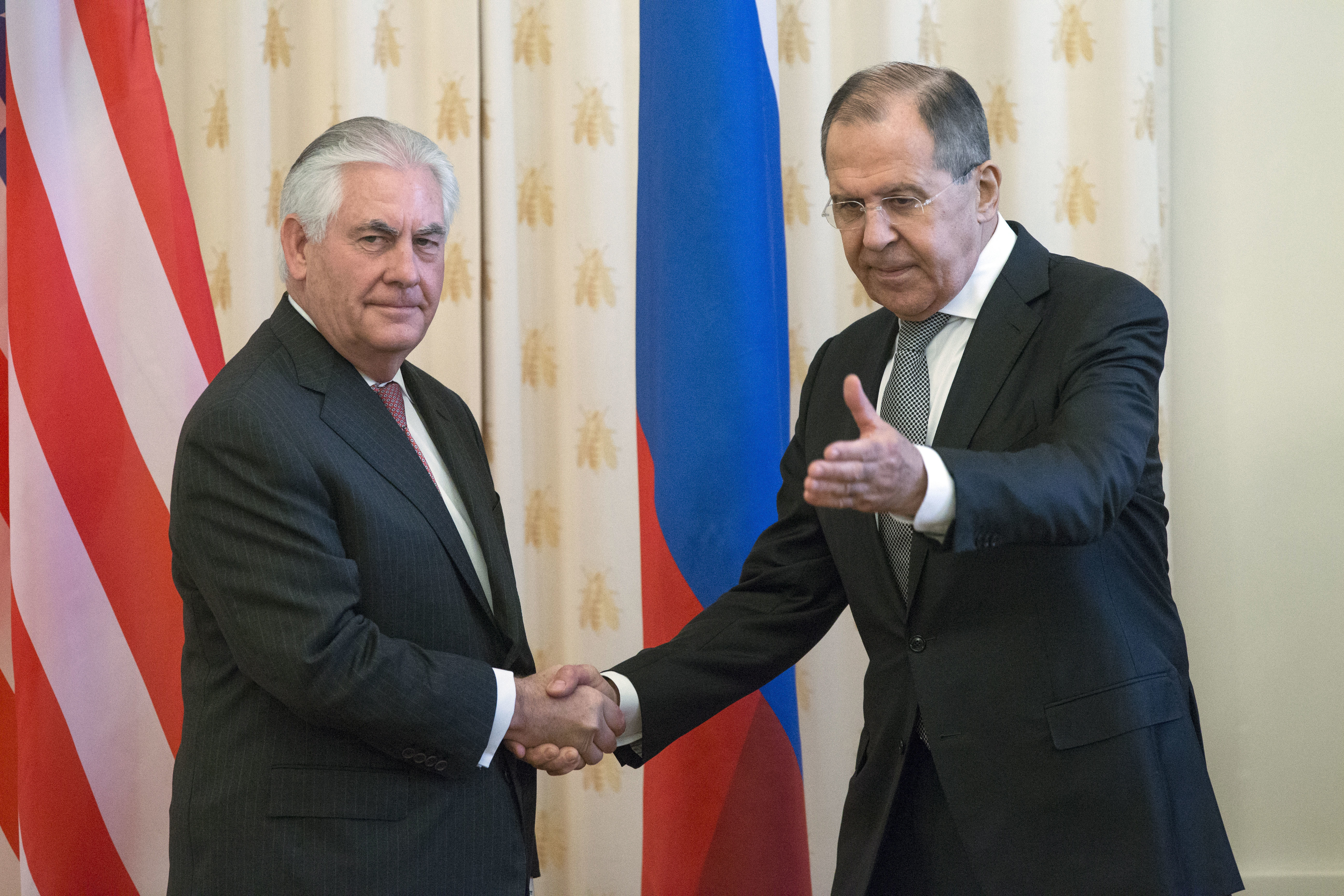 Secretary of State Rex Tillerson and Russian Foreign Minister Sergey Lavrov, shake hands prior to their talks in Moscow, Russia, April 12, 2017.