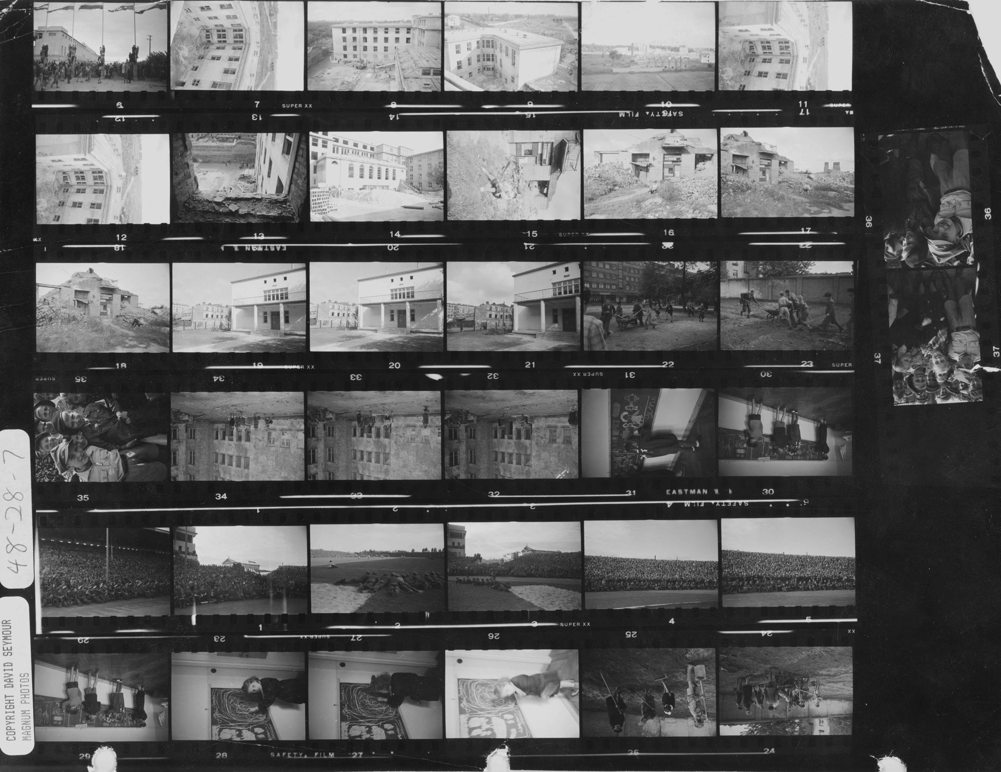 Contact sheet showing the school buildings in 1948.