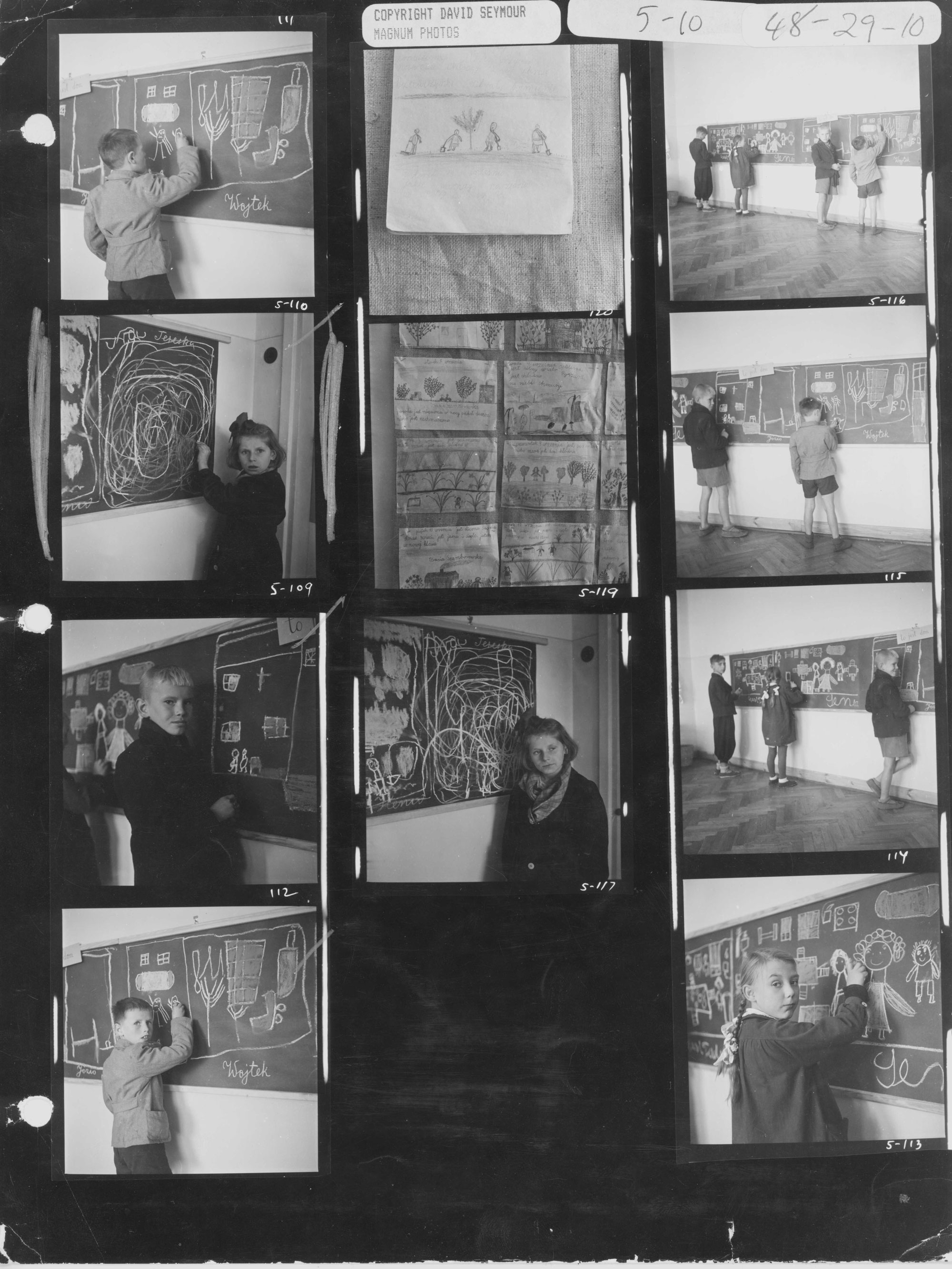 Contact sheet of the children drawing on blackboard. Special-need institute, Warsaw, 1948.