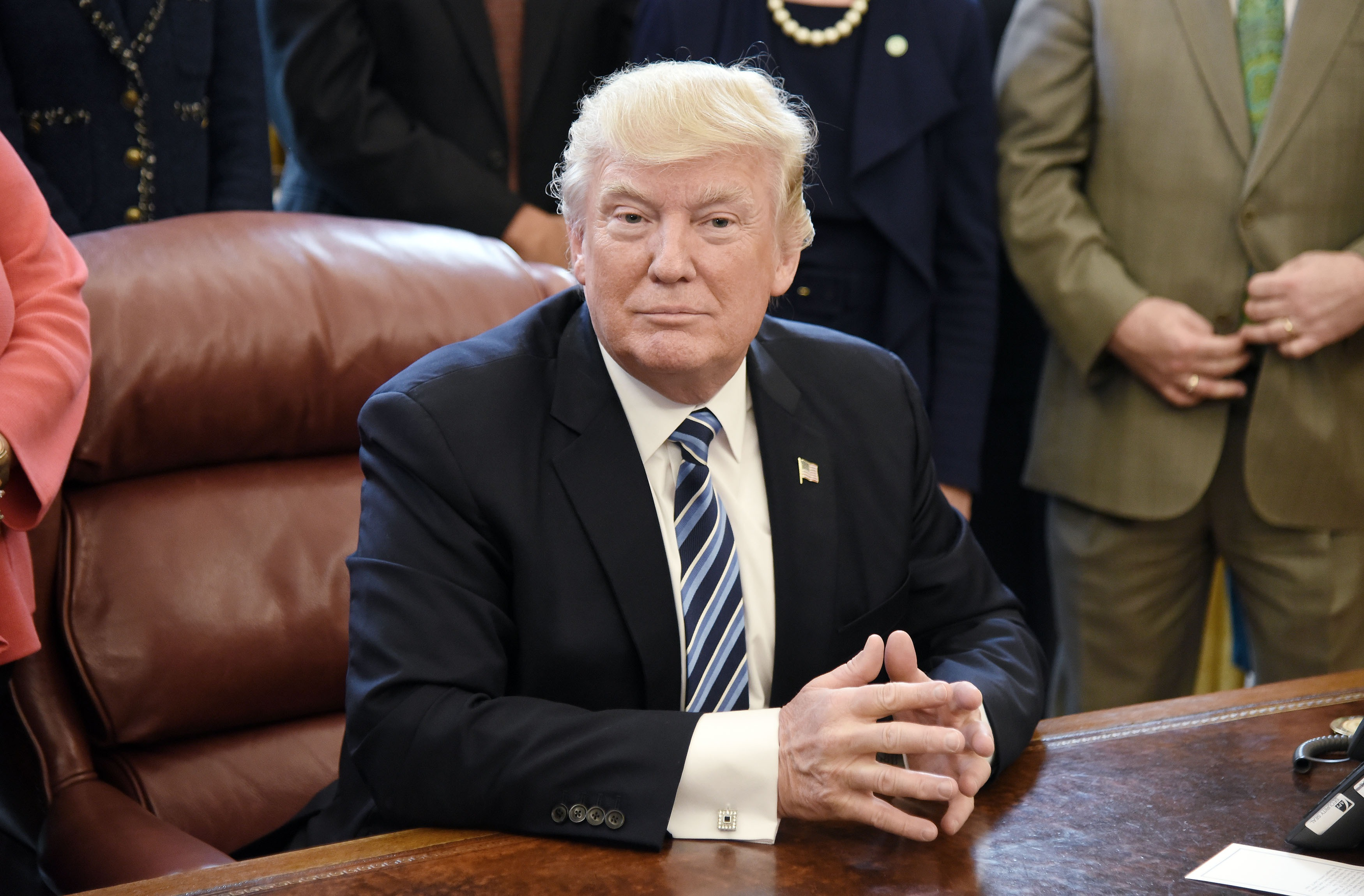 U.S. President Donald Trump looks on after signing a Memorandum on Aluminum Imports and Threats to National Security in the Oval Office on April 27, 2017 in Washington, DC.