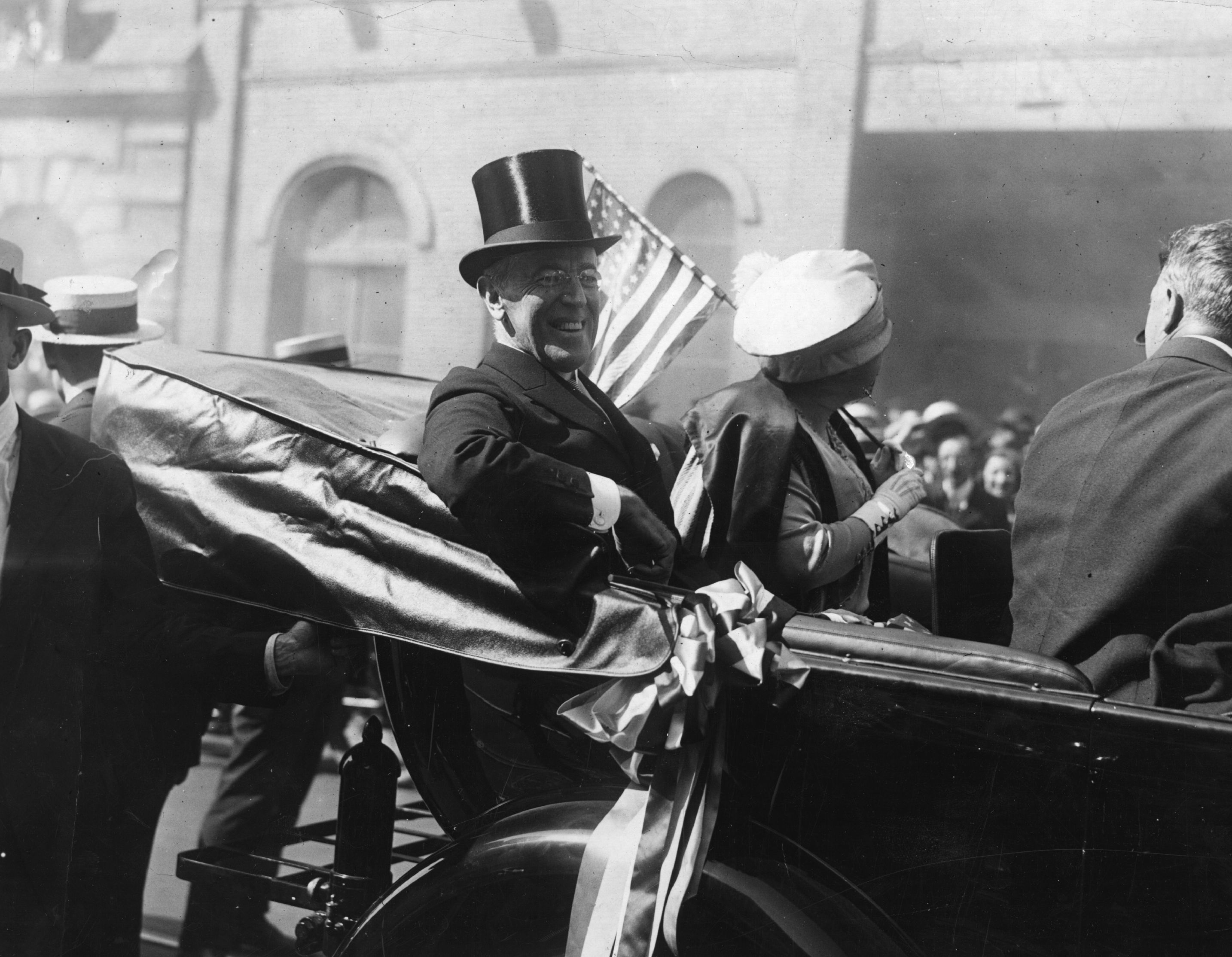 President Woodrow Wilson with the First Lady, Edith Wilson, riding in a carriage in New York.