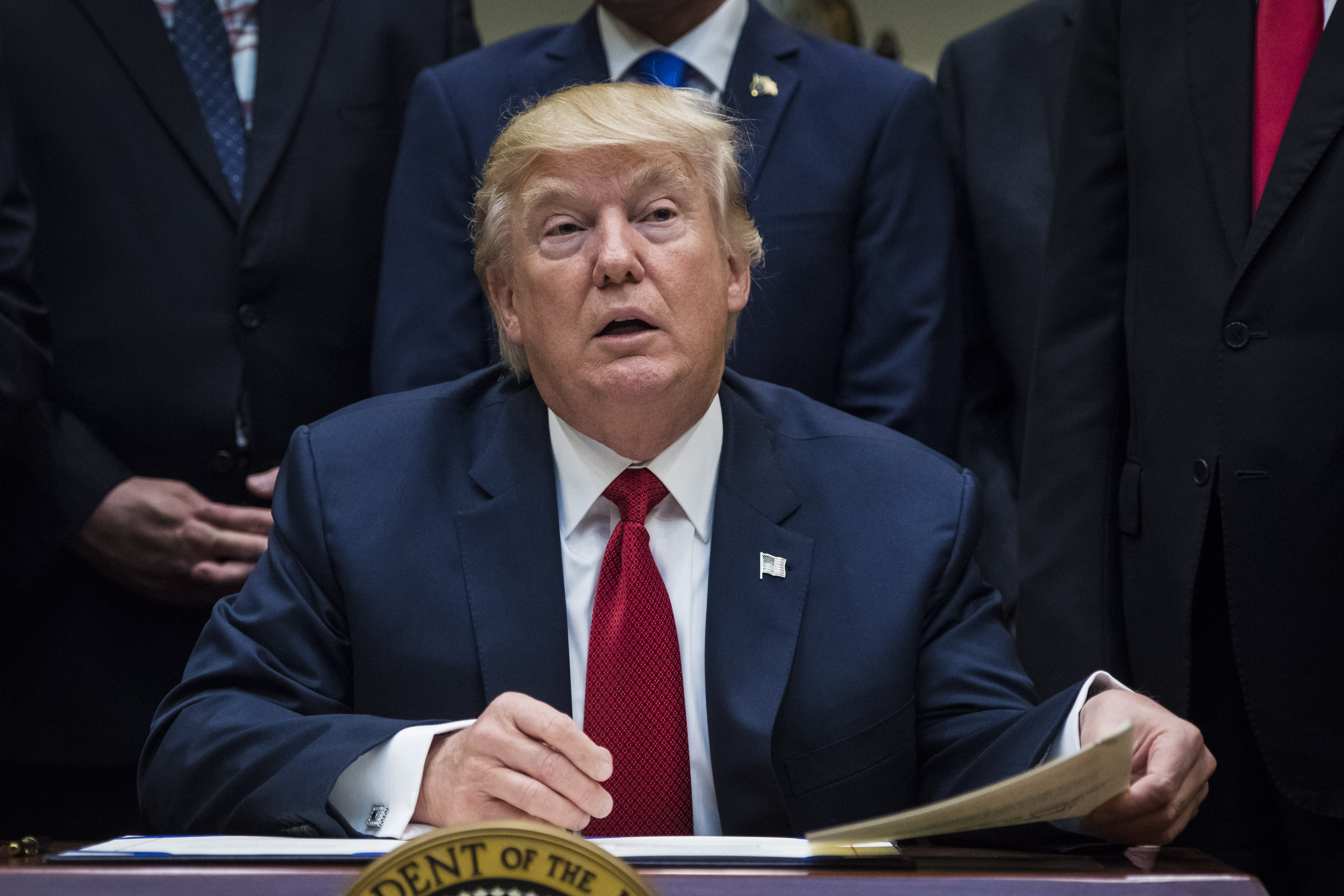 President Donald Trump talks about the Veterans Choice Program Extension and Improvement Act before signing it in the Roosevelt Room of the White House in Washington, DC on Wednesday, April 19, 2017.