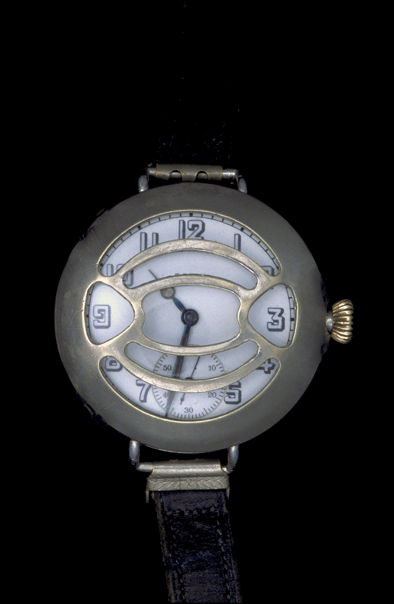 A wristwatch made by the Elgin National Watch Company of Elgin, Illinois, in 1917.