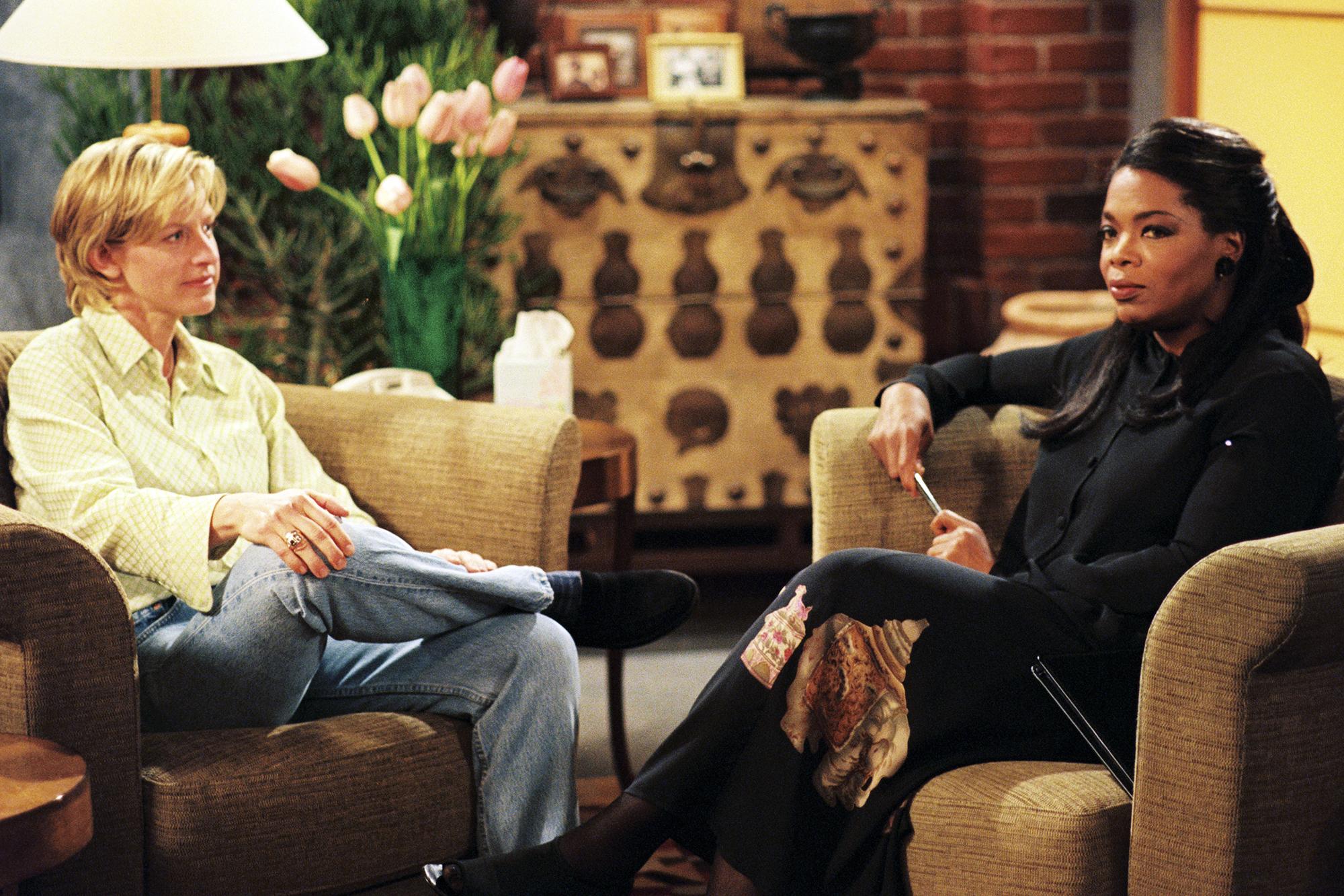 Ellen DeGeneres and Oprah Winfrey in  The Puppy Episode,  which aired April 30, 1997.