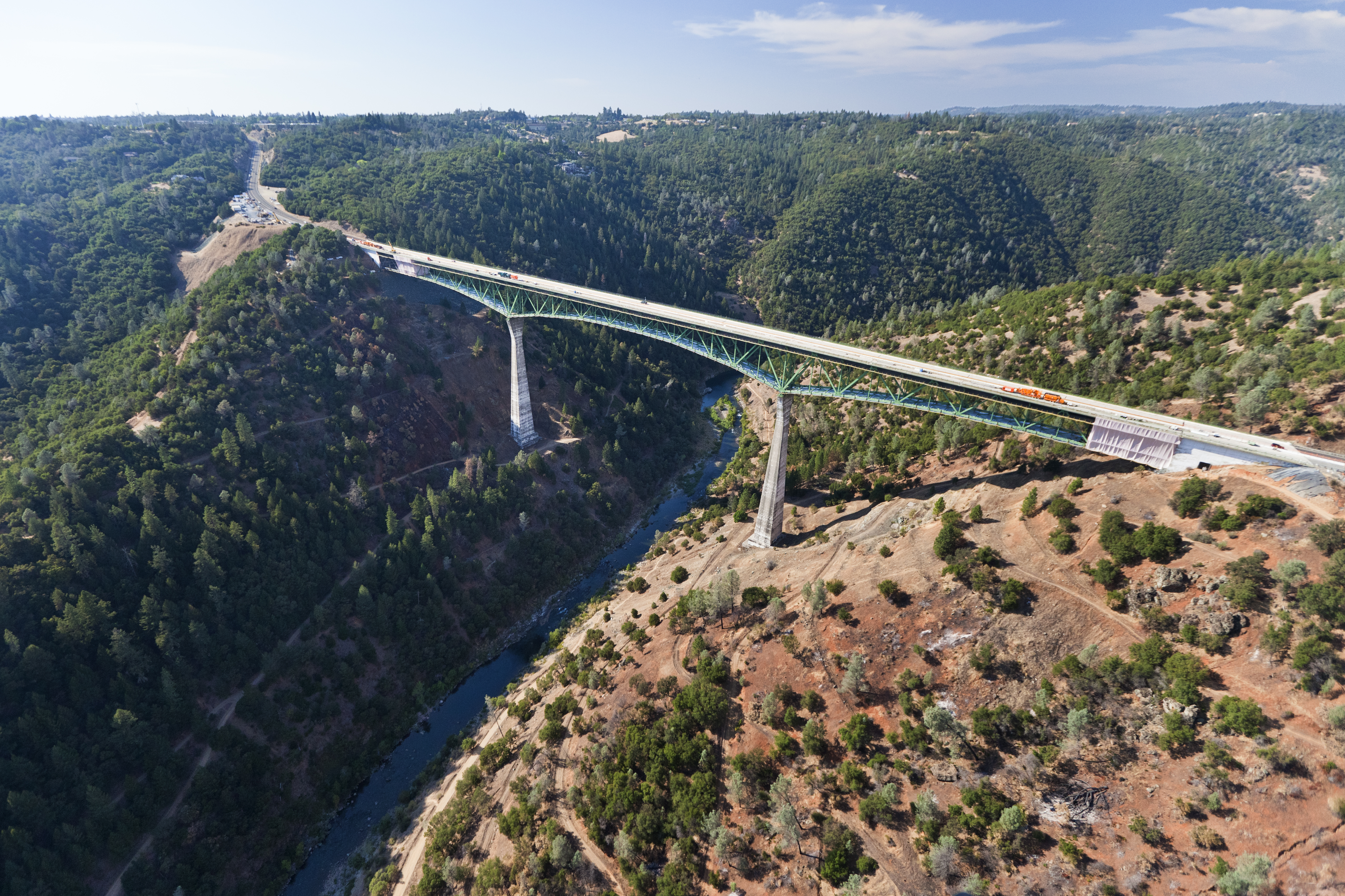 The Foresthill Bridge over the North Fork of the American River is the highest bridge in California.