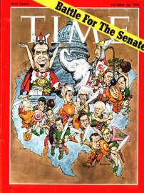 George H.W. Bush, pictured during his run for a Texas Senate seat, on the Oct. 26, 1970, cover of TIME. Illustration by Mort Drucker.