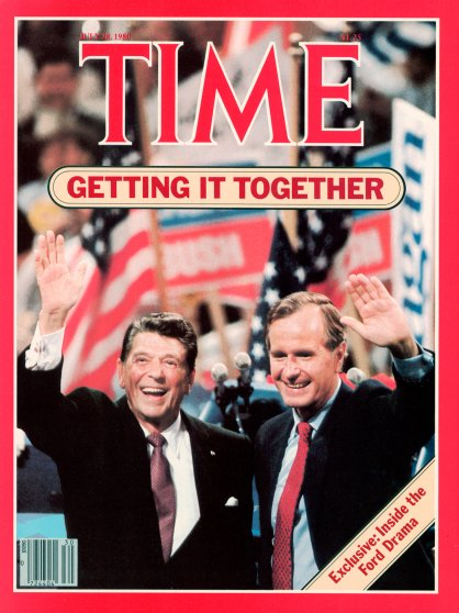 Ronald Reagan & George H.W. Bush on the Jul. 28, 1980, cover of TIME. Cover photo by Neil Leifer.