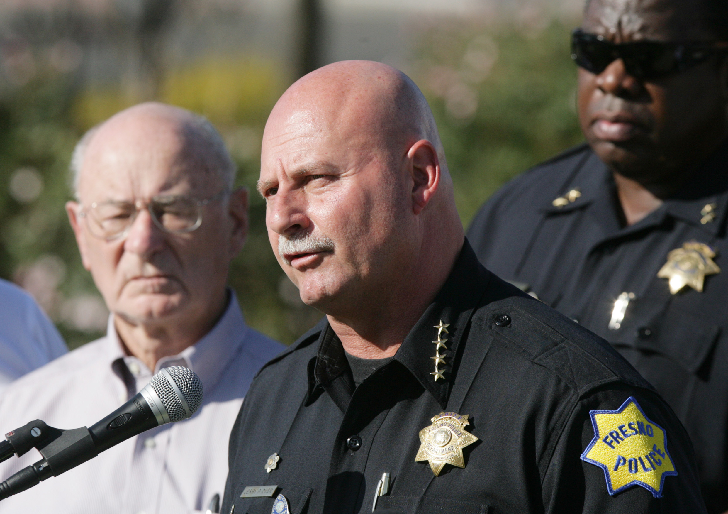 Fresno police chief Jerry Dyer gives a news conference in Central Fresno.