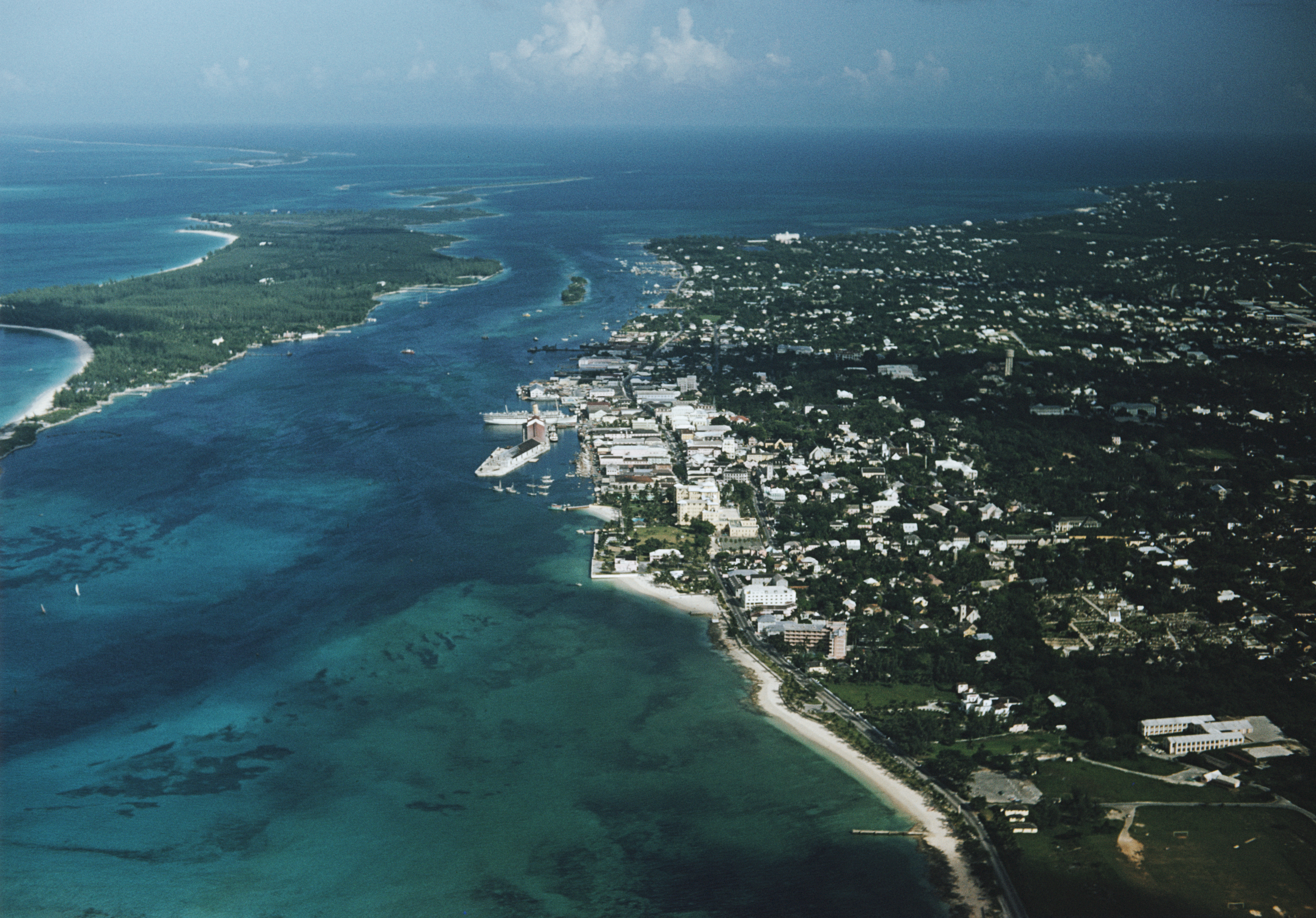 An aerial view of Nassau, Bahamas, with Paradise Island on the left, circa 1968. (Photo by Archive Photos/Getty Images) *** Local Caption ***