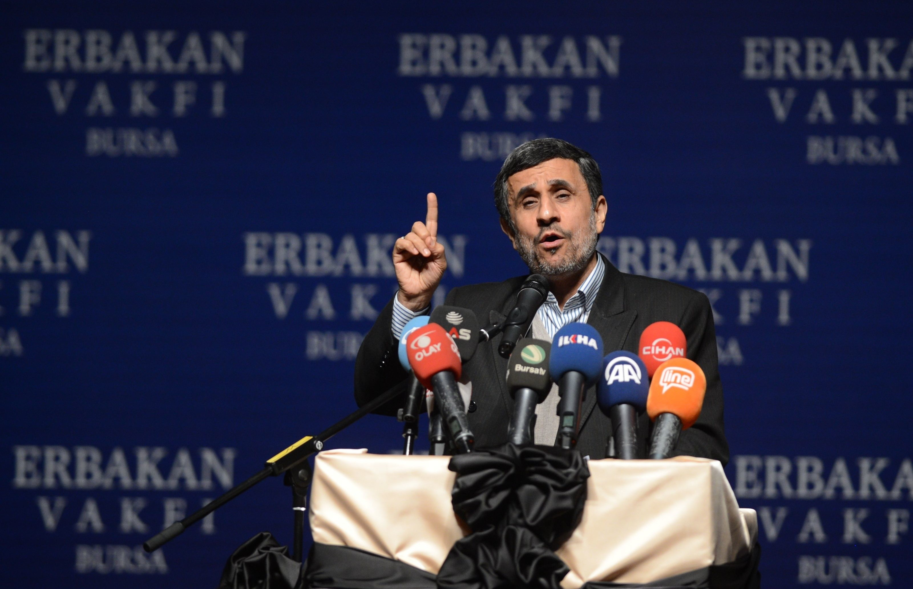 Former Iranian President Mahmoud Ahmadinejad makes a speech during commemorating for the late Prime Minister Necmettin Erbakan organized by Erbakan Association in Bursa, Turkey, on Feb. 27, 2015