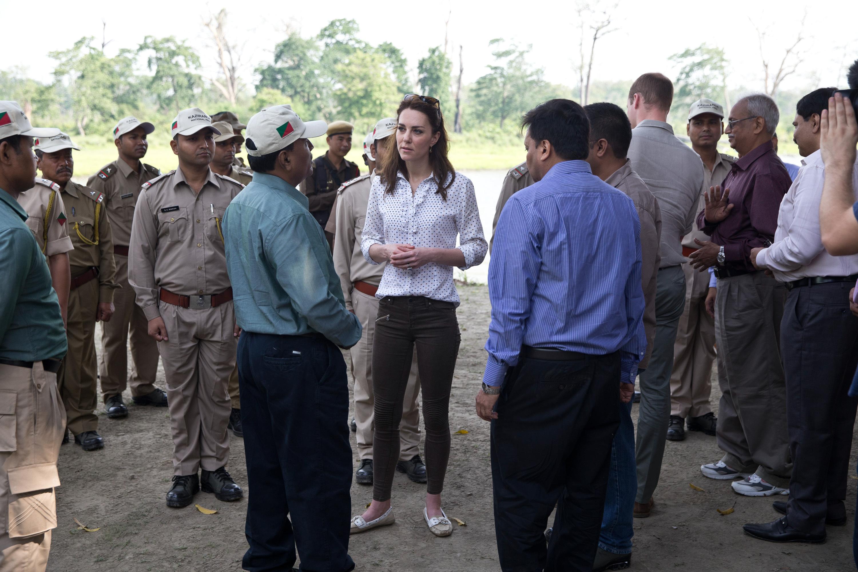Catherine, Duchess of Cambridge visits Kaziranga National Park for a safari on April 13, 2016 in Guwahati, India.