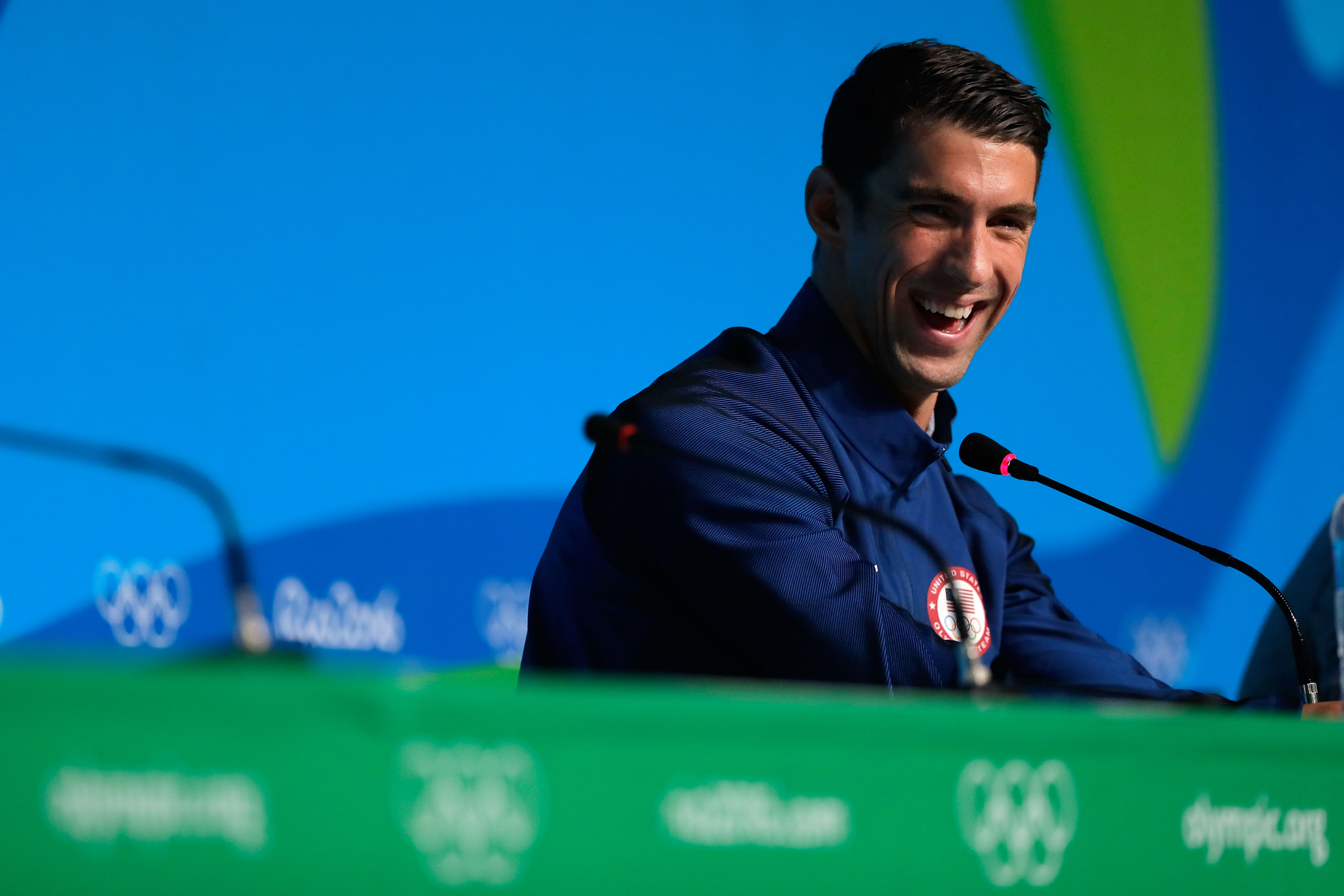 Michael Phelps of the United States speaks during a press conference at the Main Press Centre on August 14, 2016, in Rio de Janeiro, Brazil.