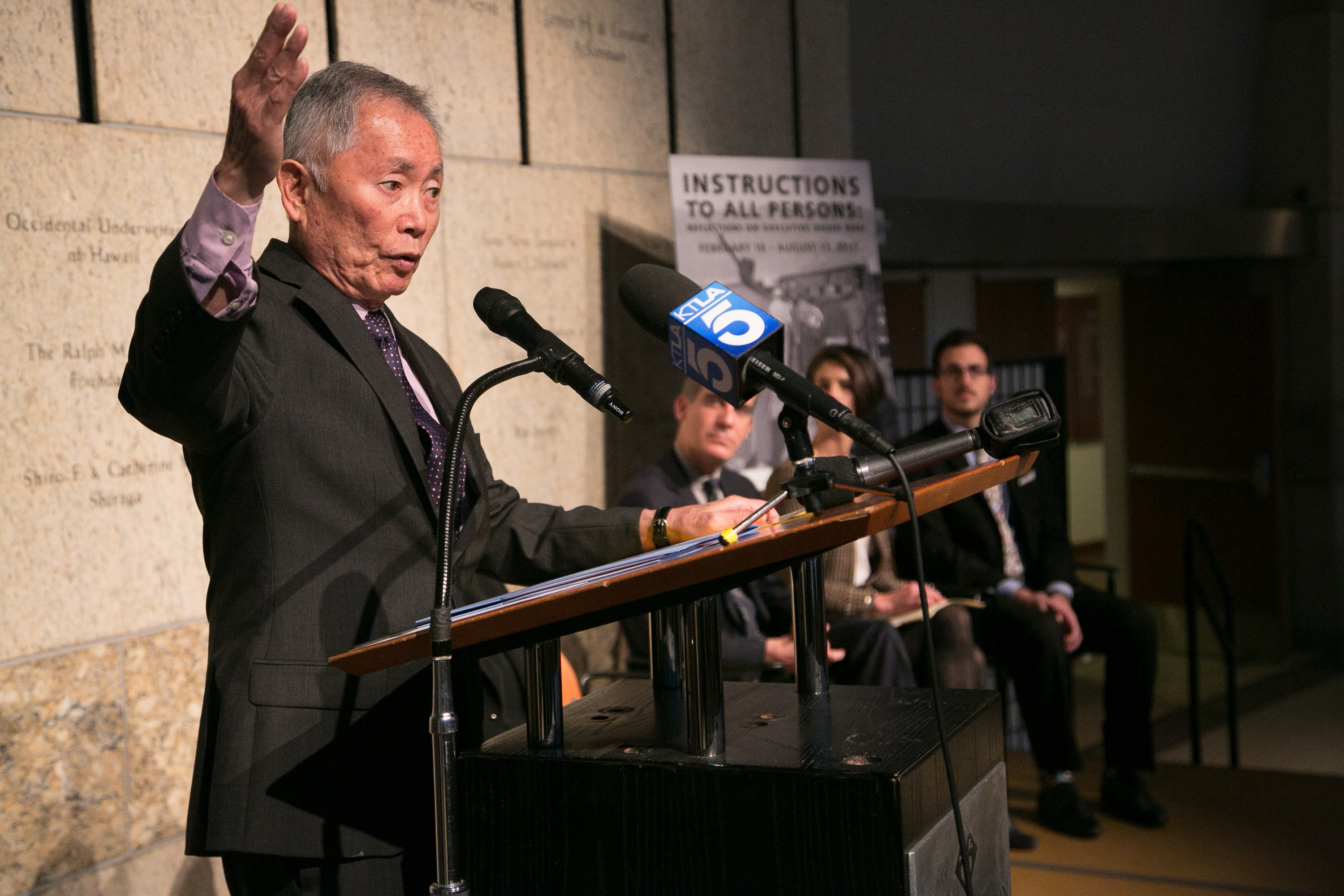 George Takei attends the press conference for The Japanese American National Museum's exhibition  Instructions To All Persons: Reflections On Executive Order 9066  at Japanese American National Museum on February 17, 2017, in Los Angeles, California.