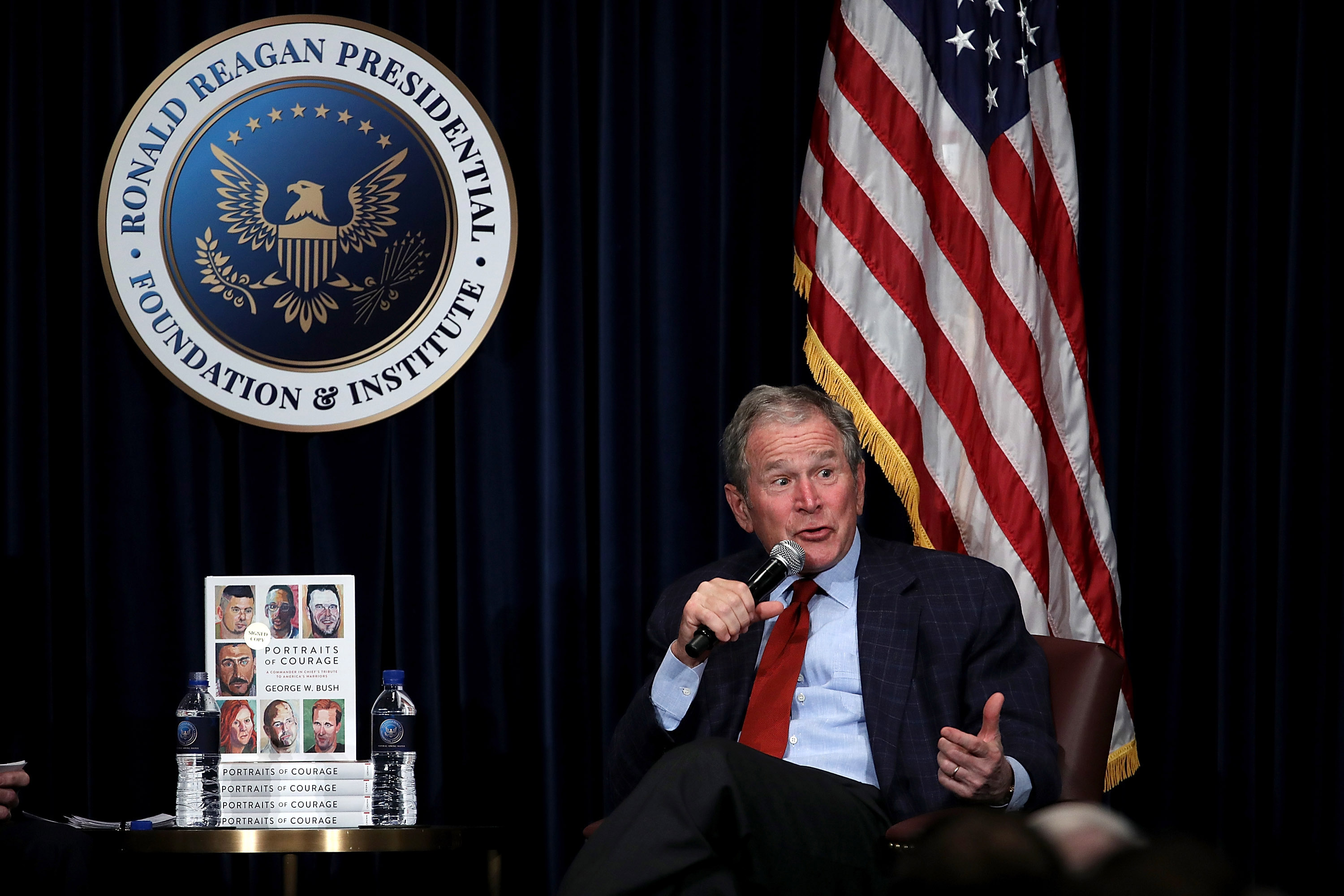 Former U.S. President George W. Bush speaks during a discussion about his new book  Portraits of Courage: A Commander in Chief's Tribute to America's Warriors  at the Ronald Reagan Presidential Library on March 1, 2017 in Simi Valley, California.
