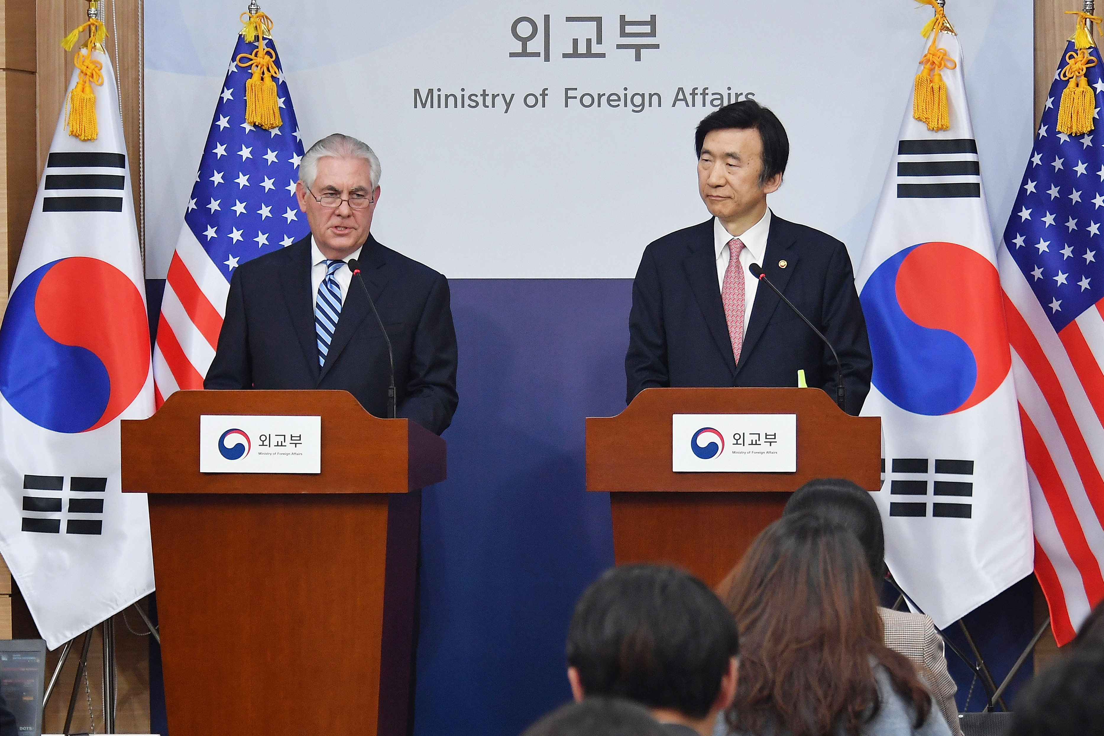 U.S. Secretary of State Rex Tillerson speaks with South Korean Foreign Minister Yun Byung-se in Seoul, South Korea, on March 17, 2017.