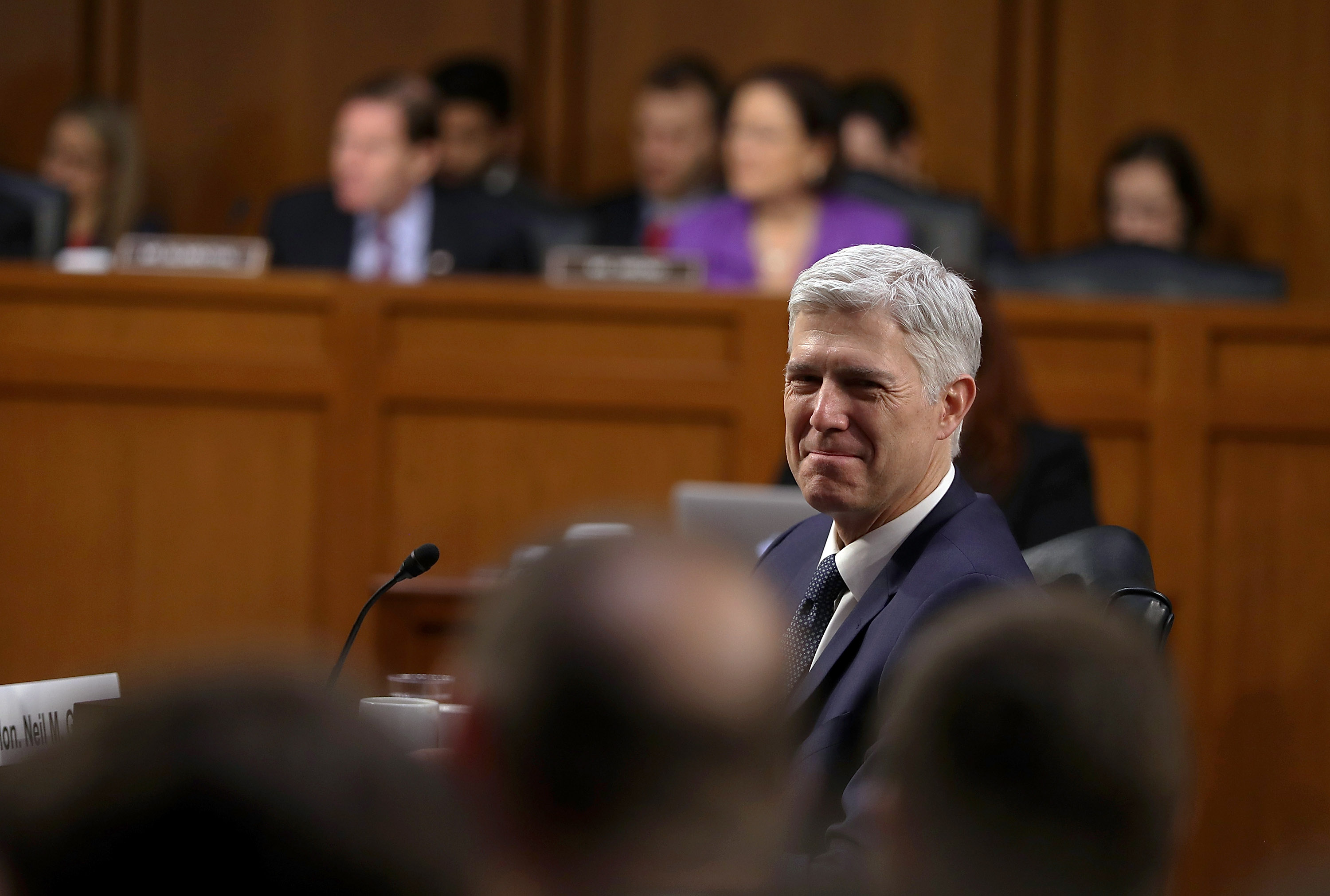 Judge Neil Gorsuch looks on during the third day of his Supreme Court confirmation hearing before the Senate Judiciary Committee in the Hart Senate Office Building on Capitol Hill, March 22, 2017 in Washington. Justin Sullivan—Getty Images