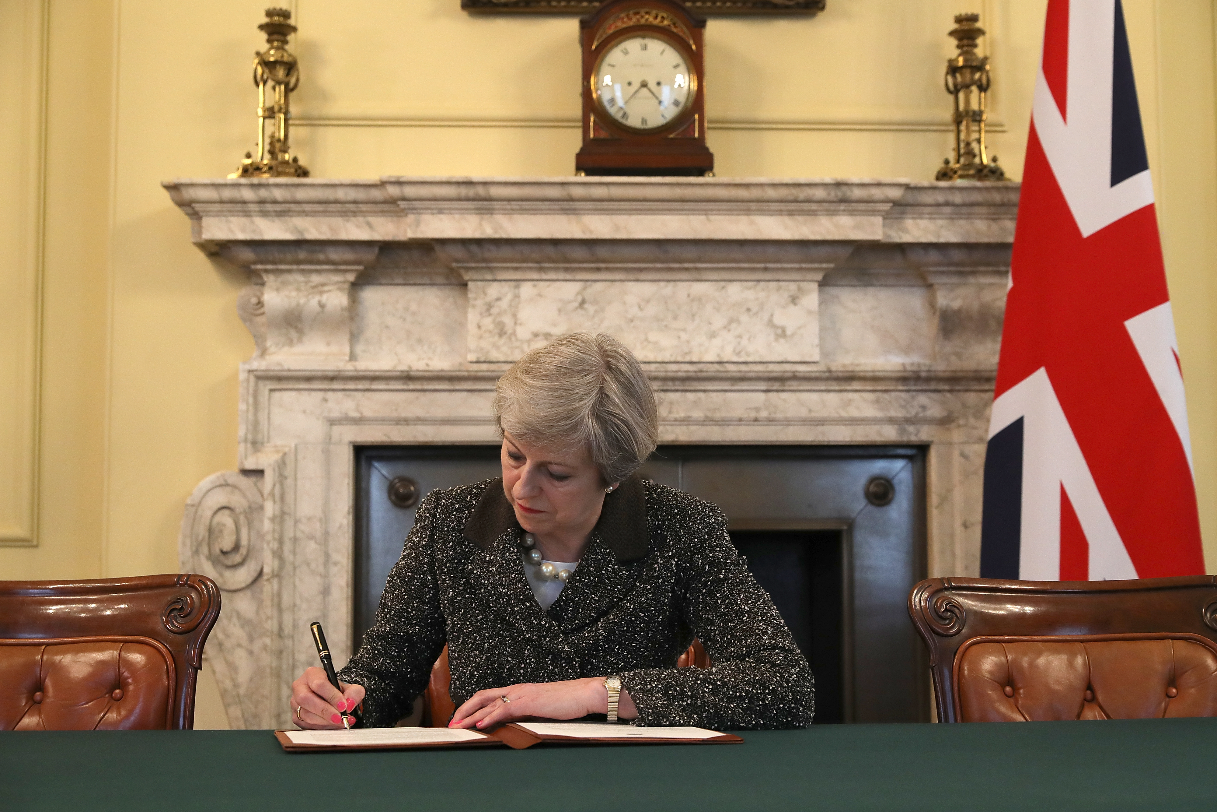British Prime Minister Theresa May signs the official letter invoking Article 50 and the U.K.'s intention to leave the E.U. on March 28, 2017 in London.